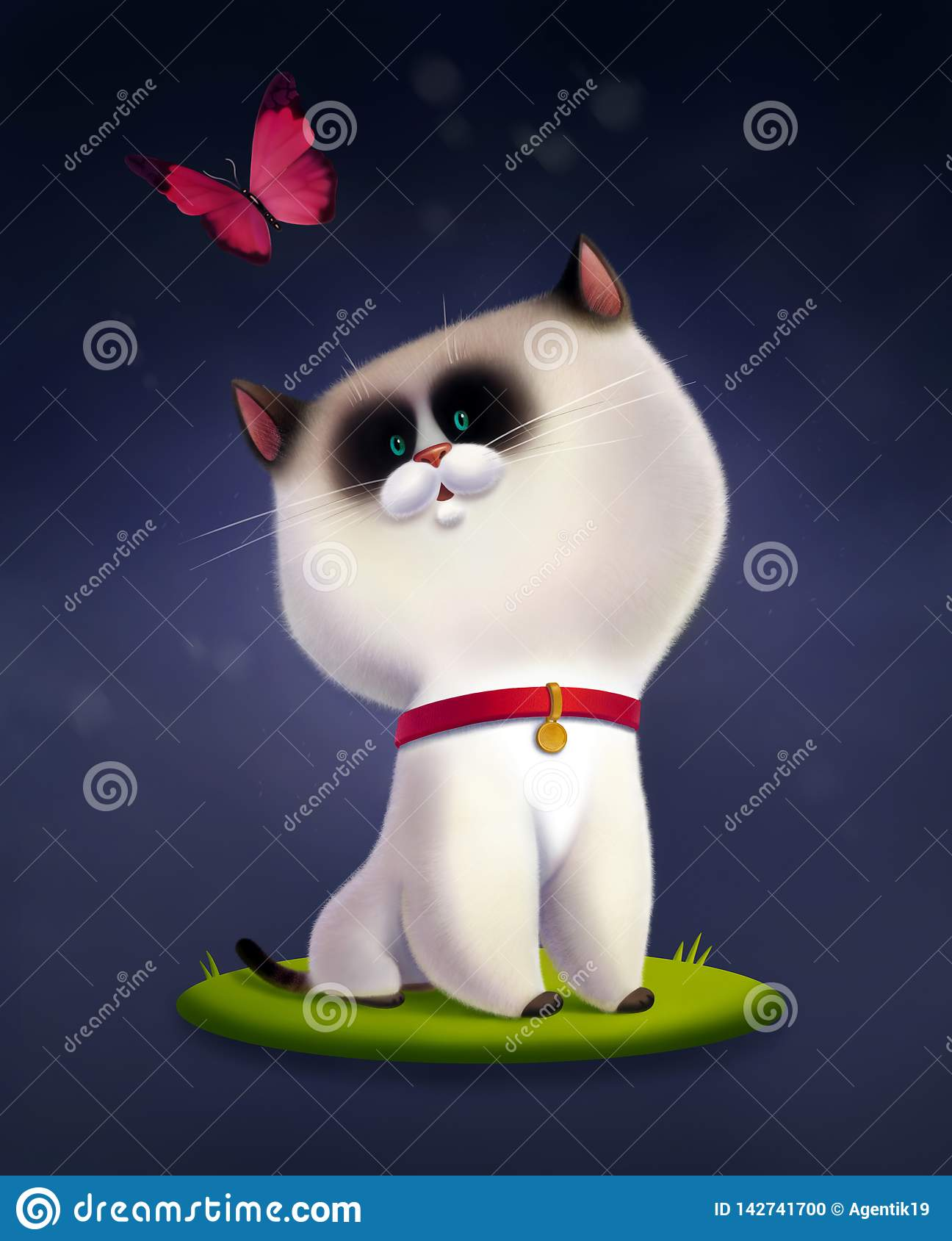 Ejemplo de los niños del gato siamés que localiza en la hierba y que considera para arriba volar la mariposa rosada