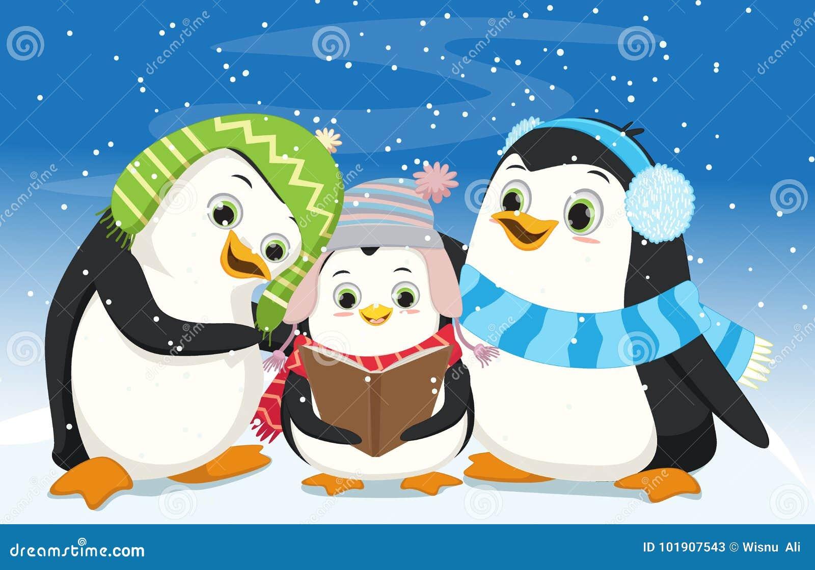 Ejemplo de los pingüinos lindos que cantan el villancico de la Navidad