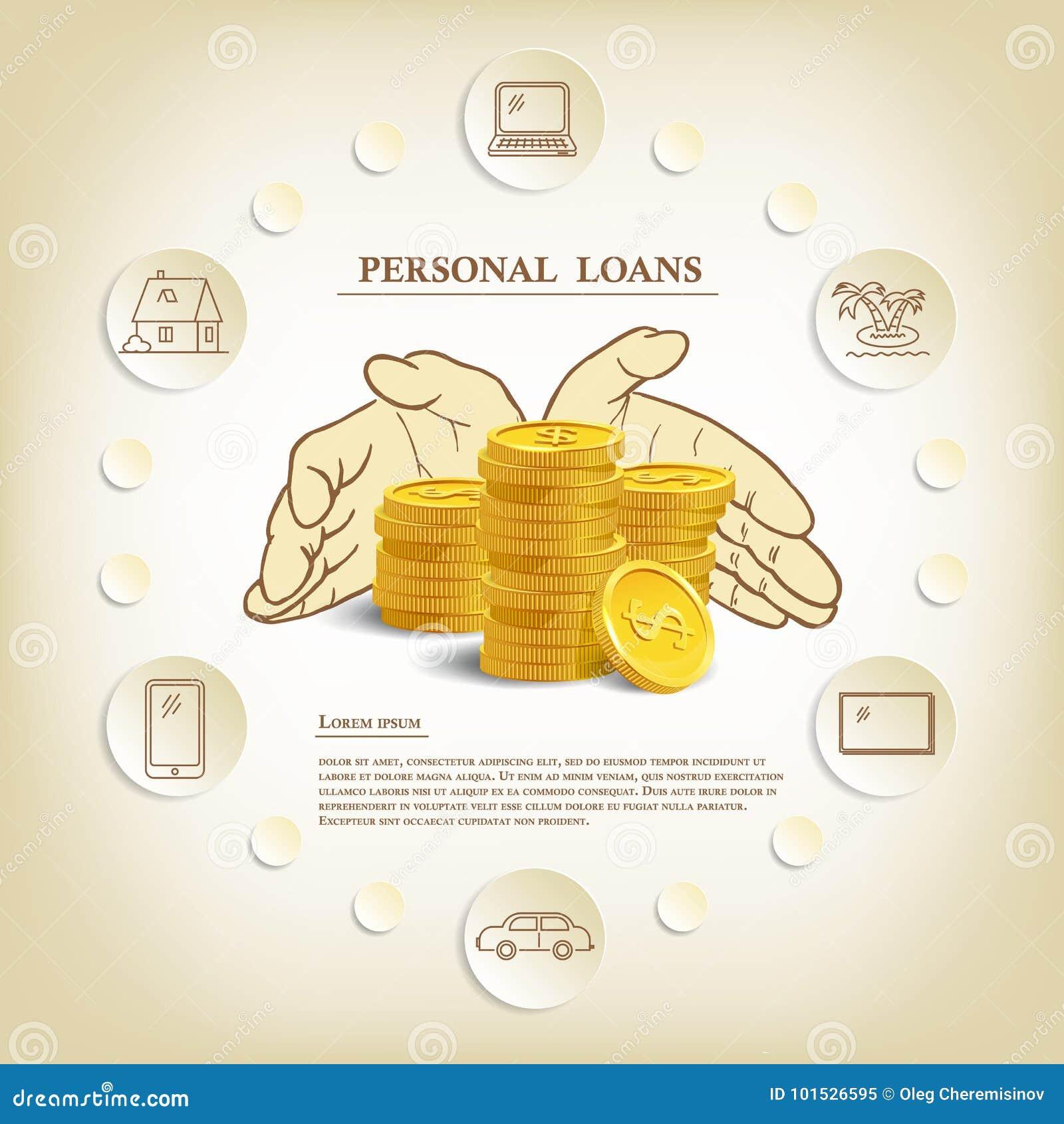 Ejemplo De Los Préstamos Personales Con Las Monedas Y Las Manos ...