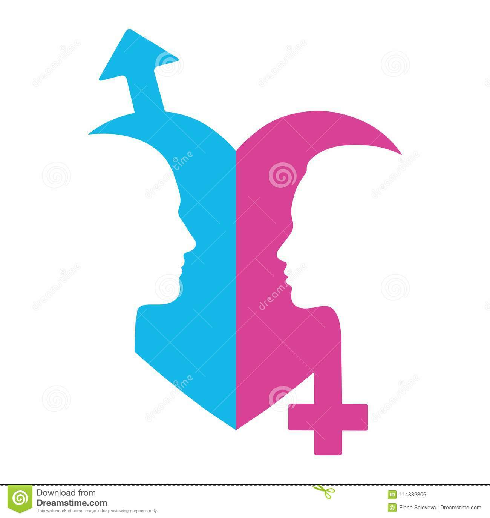 Ejemplo De Los Símbolos Del Género Con Las Cabezas Del Hombre Y De