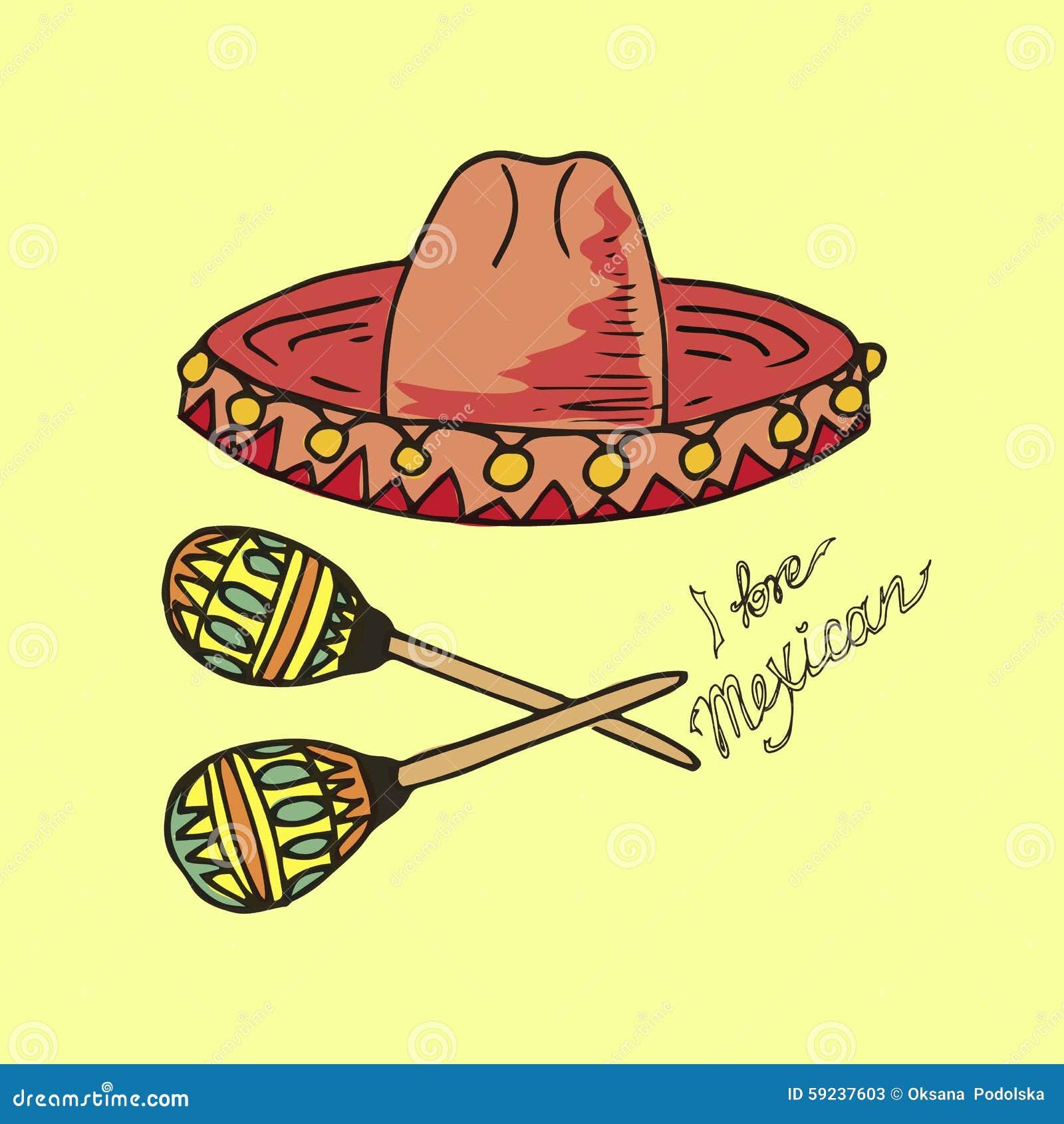 Download Ejemplo De México Sombrero Y Maracas Del Sombrero Amo Al Mexicano Ilustración del Vector - Ilustración de fondo, instrumentos: 59237603