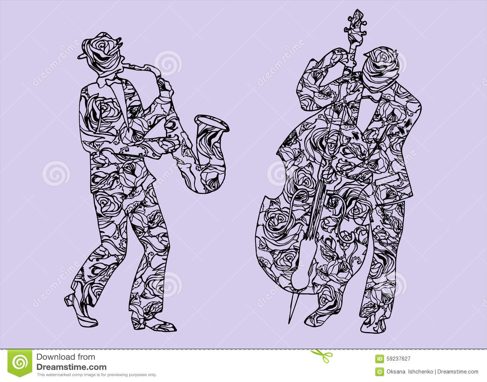 Ejemplo de músicos Hombres que realizan música Saxofón y tímpanos