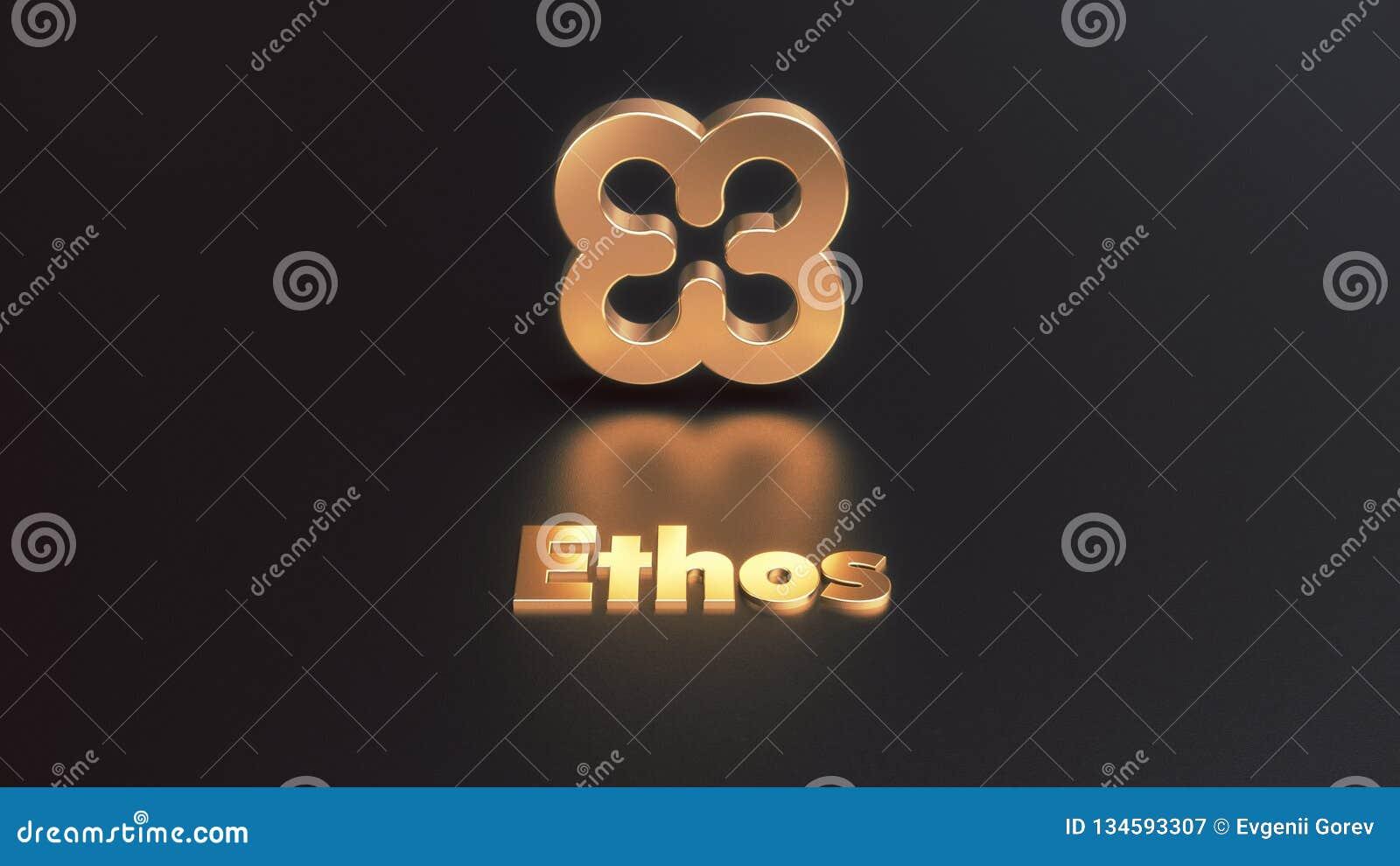 Ejemplo de oro del icono 3d del cryptocurrency del carácter