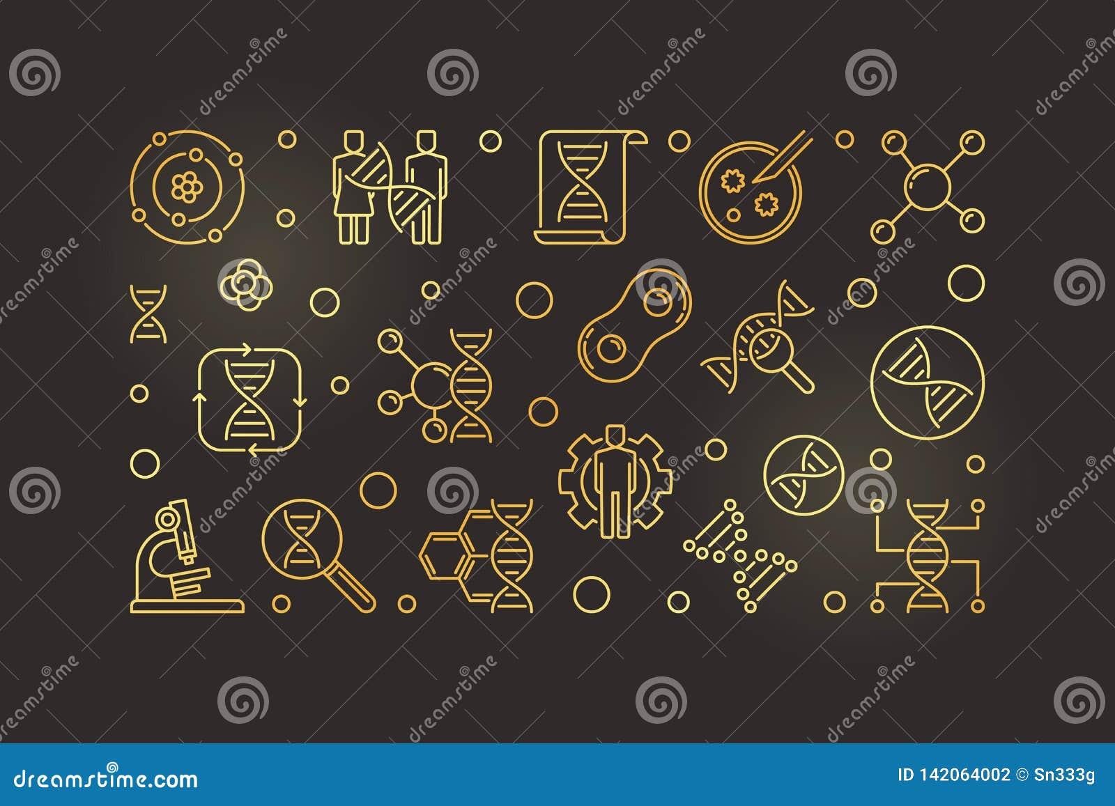Ejemplo de oro del vector de la bioquímica en estilo del esquema