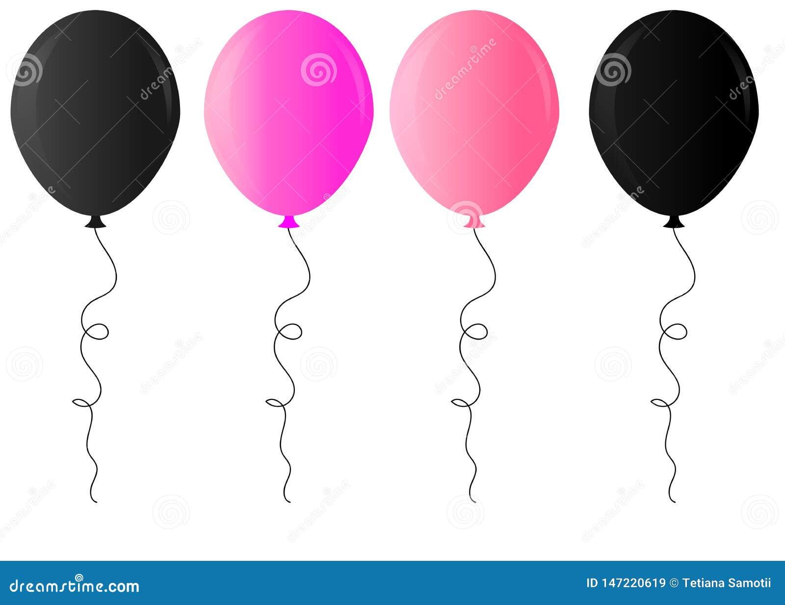 Ejemplo de oro, p?rpura, blanco y negro brillante realista del vector del globo en fondo transparente Globos para el cumpleaños,