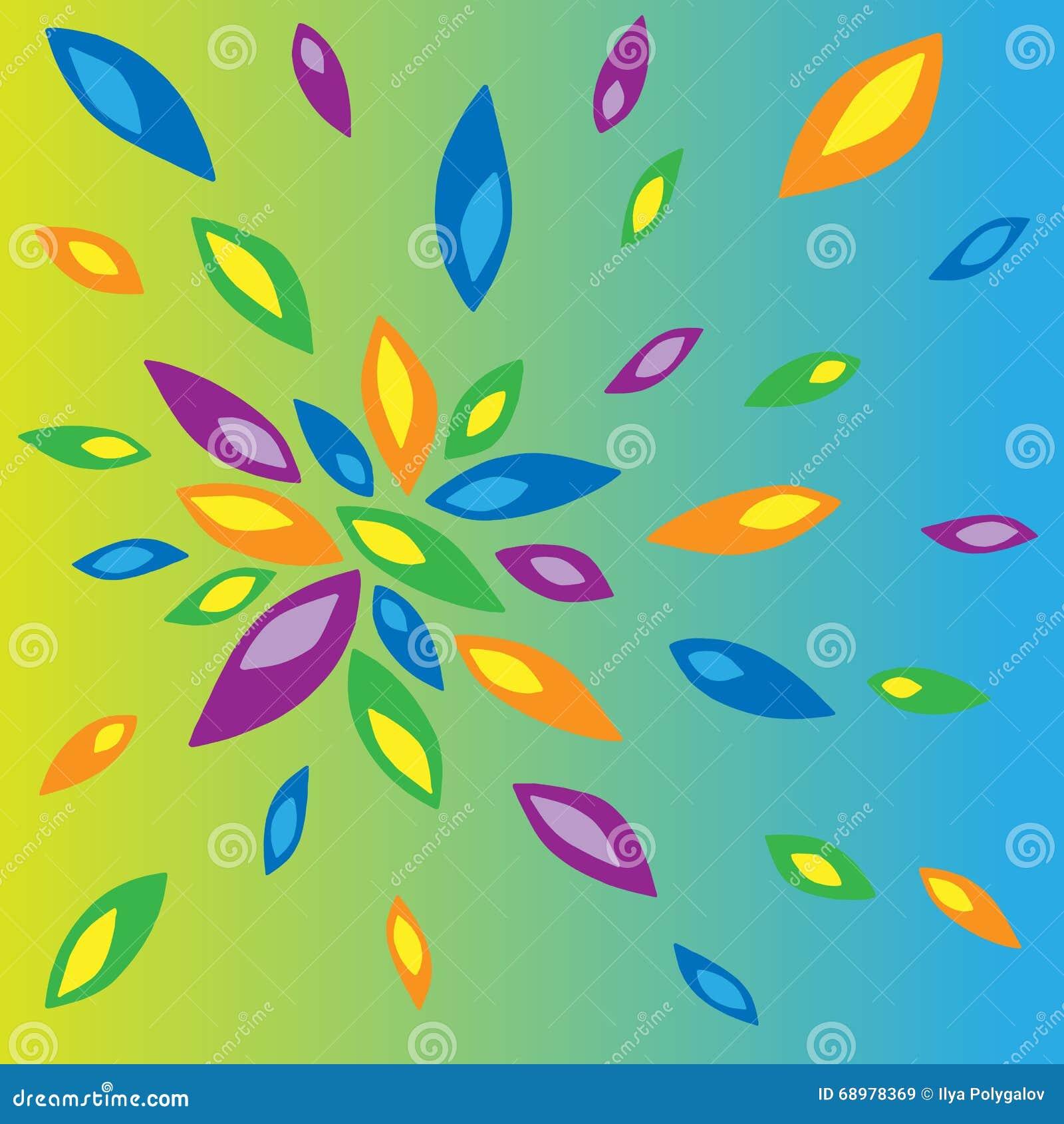 Ejemplo de pétalos coloreados