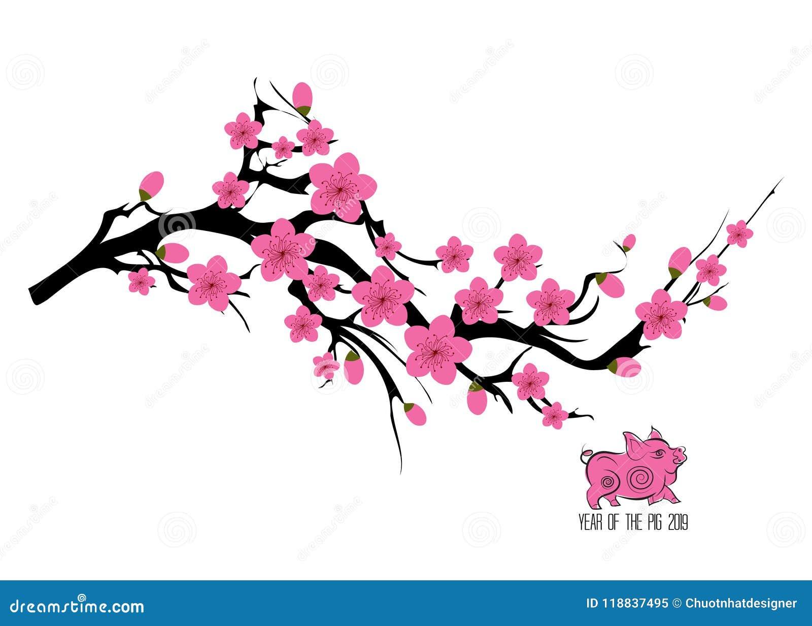 Arbol De Cerezo Japones ejemplo de ramificación del árbol de la flor de cerezo de