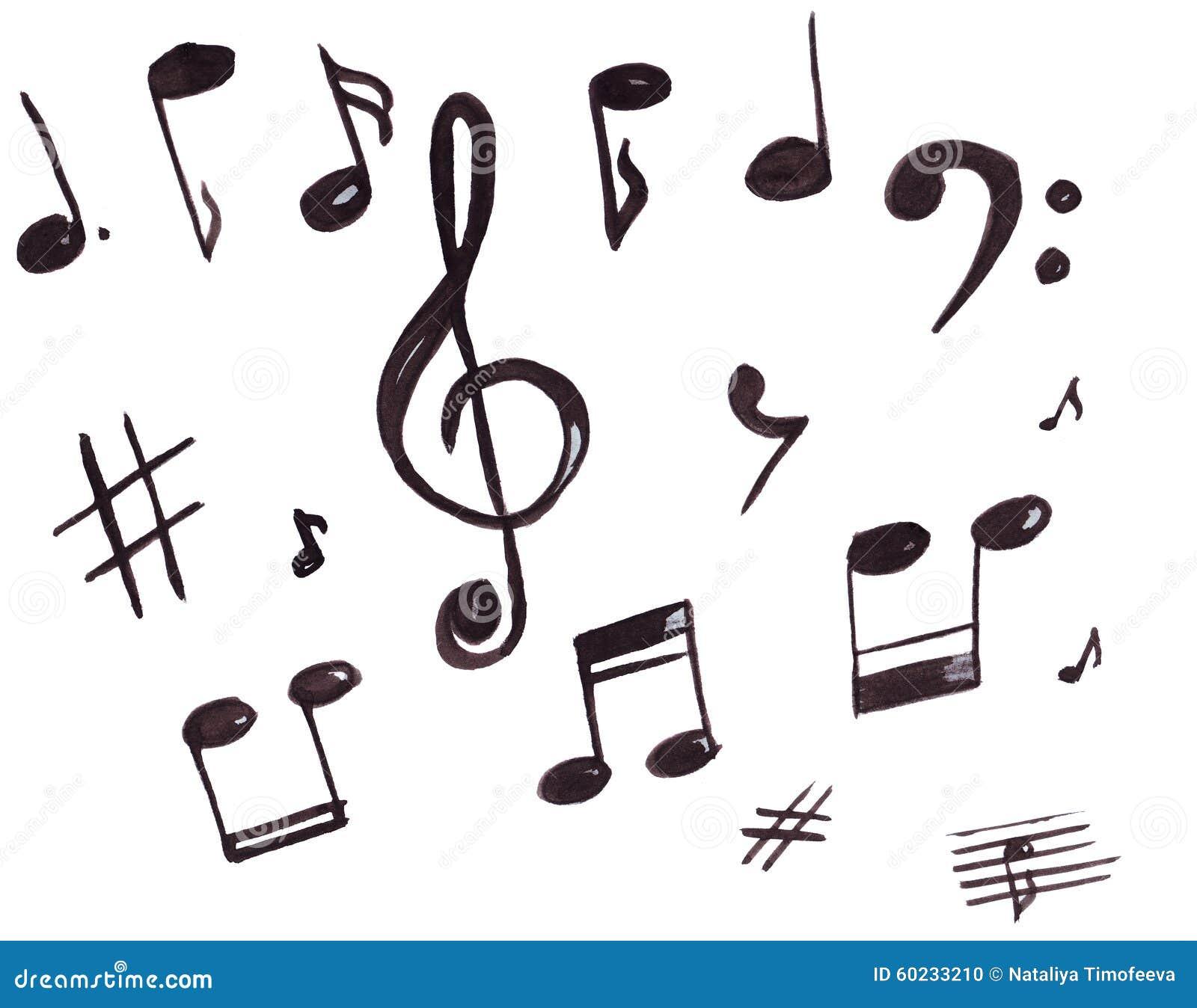 Ejemplo De Símbolos, De La Clave De Sol Y De Notas Musicales Stock ...