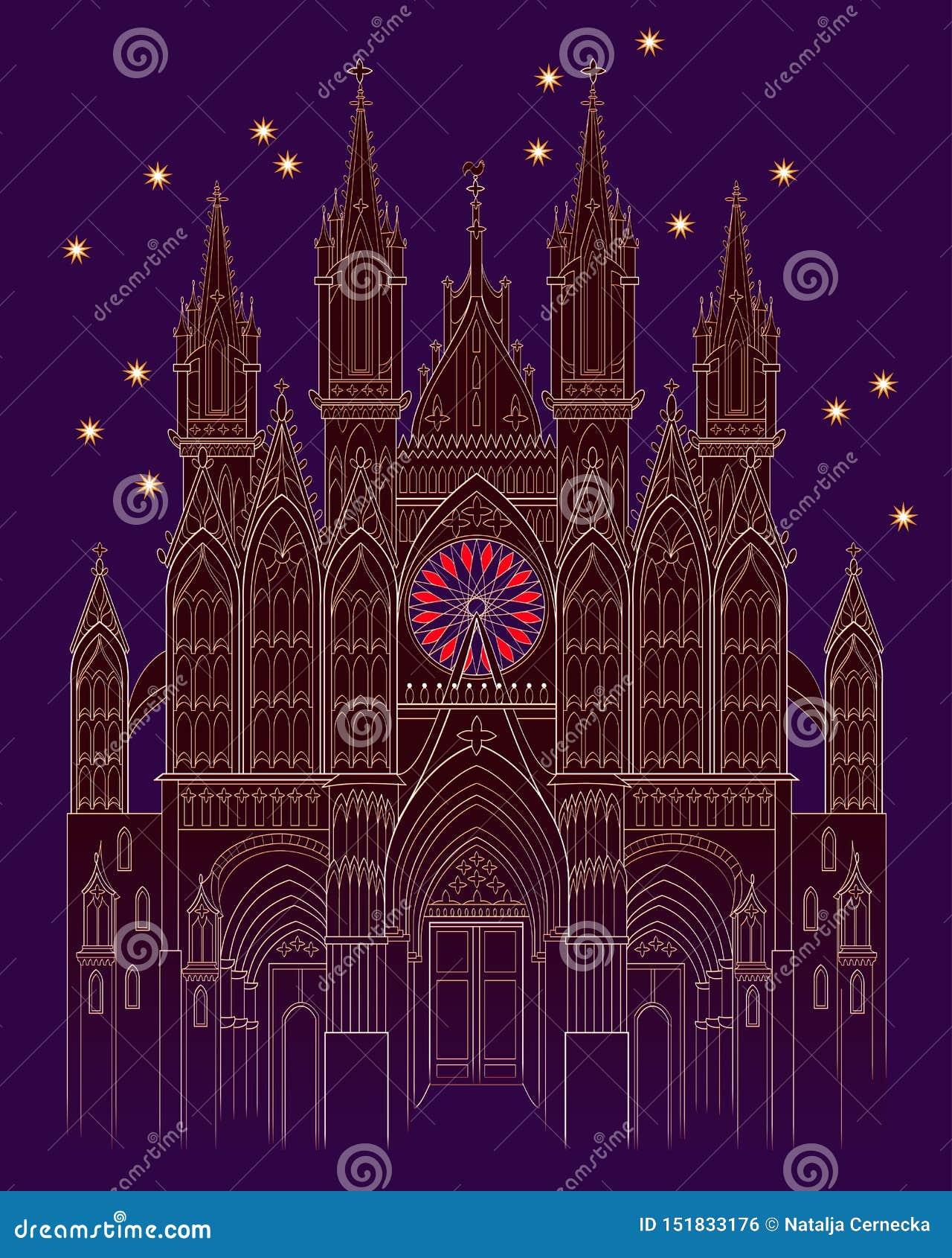 Ejemplo de un castillo gótico medieval de la fantasía en la noche Cubierta para el libro del cuento de hadas de los ni?os Cartel
