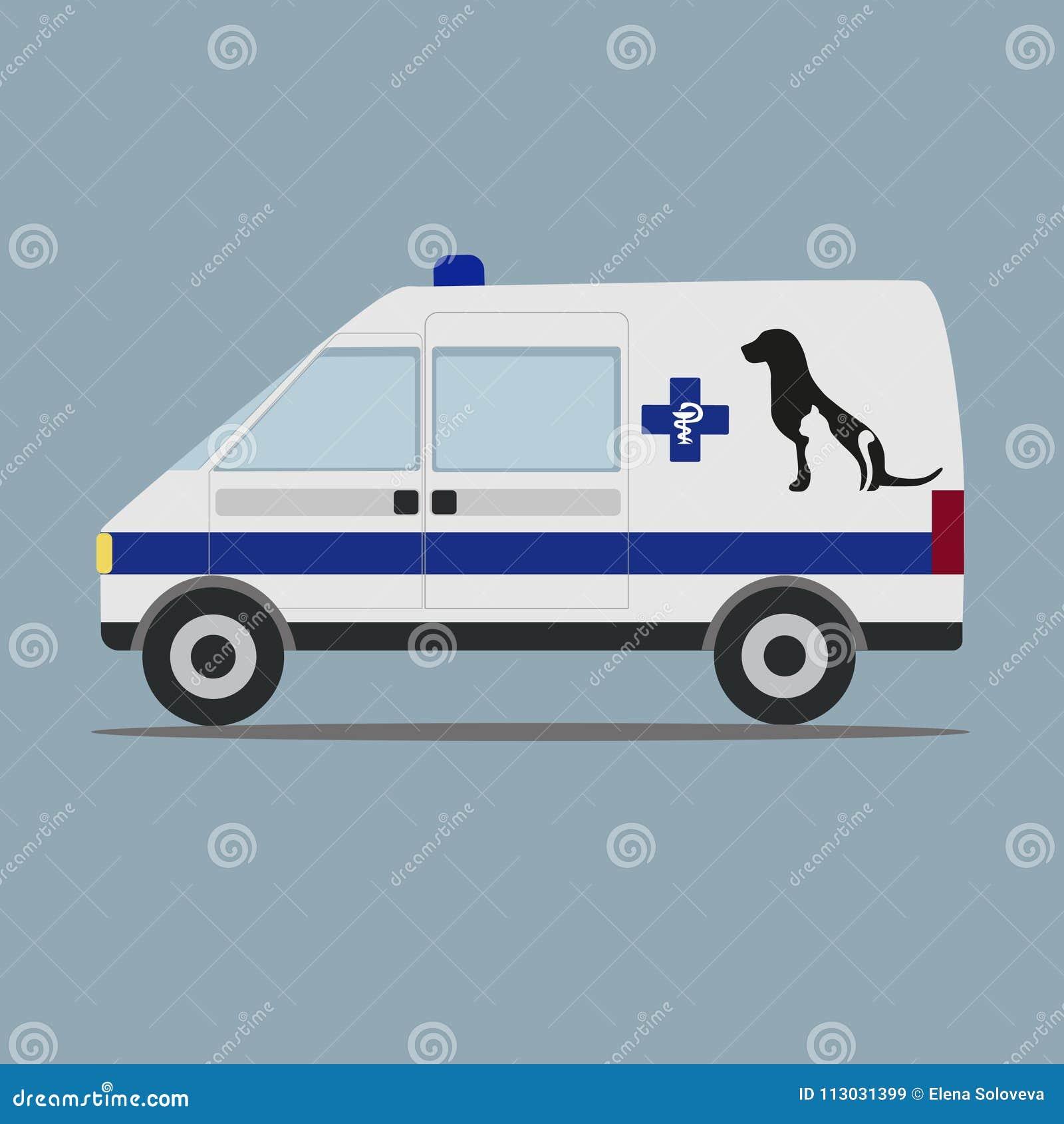Ejemplo de un coche veterinario de la ambulancia en un fondo gris