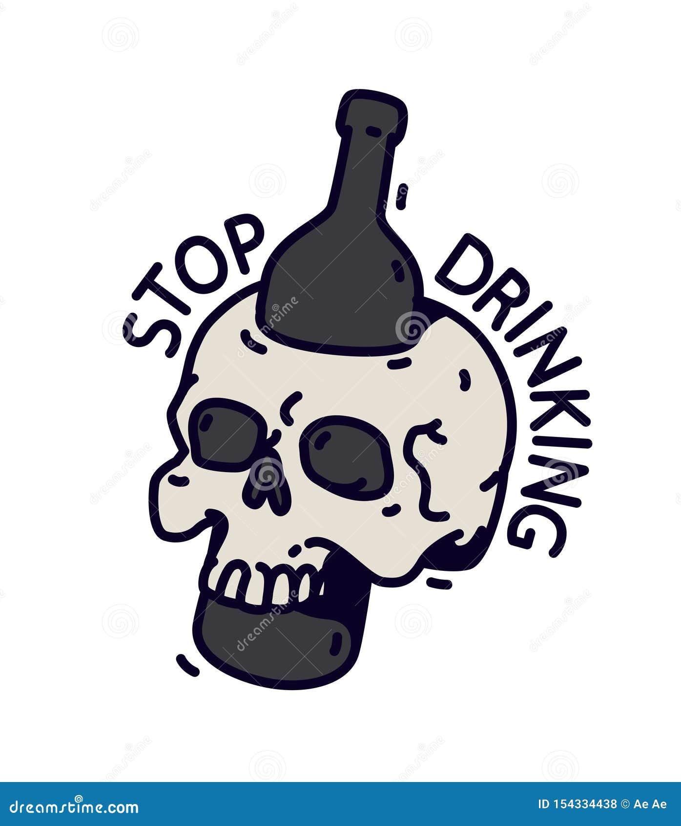 Ejemplo de un cráneo con una botella Vector Una botella perfora el cráneo Inscripción de motivación a no beber El alcohol es muer