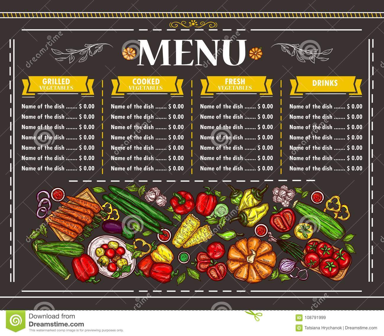 ejemplo de un diseño vegetariano del menú del restaurante stock de