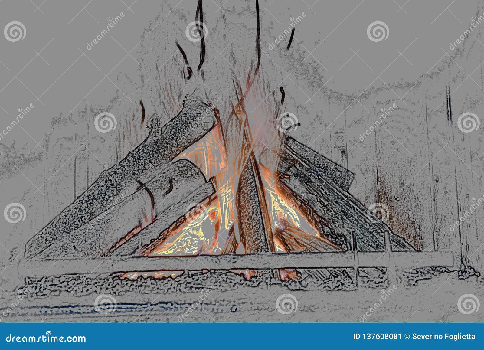 Ejemplo de un ejemplo encendido estilizado de la chimenea 3d