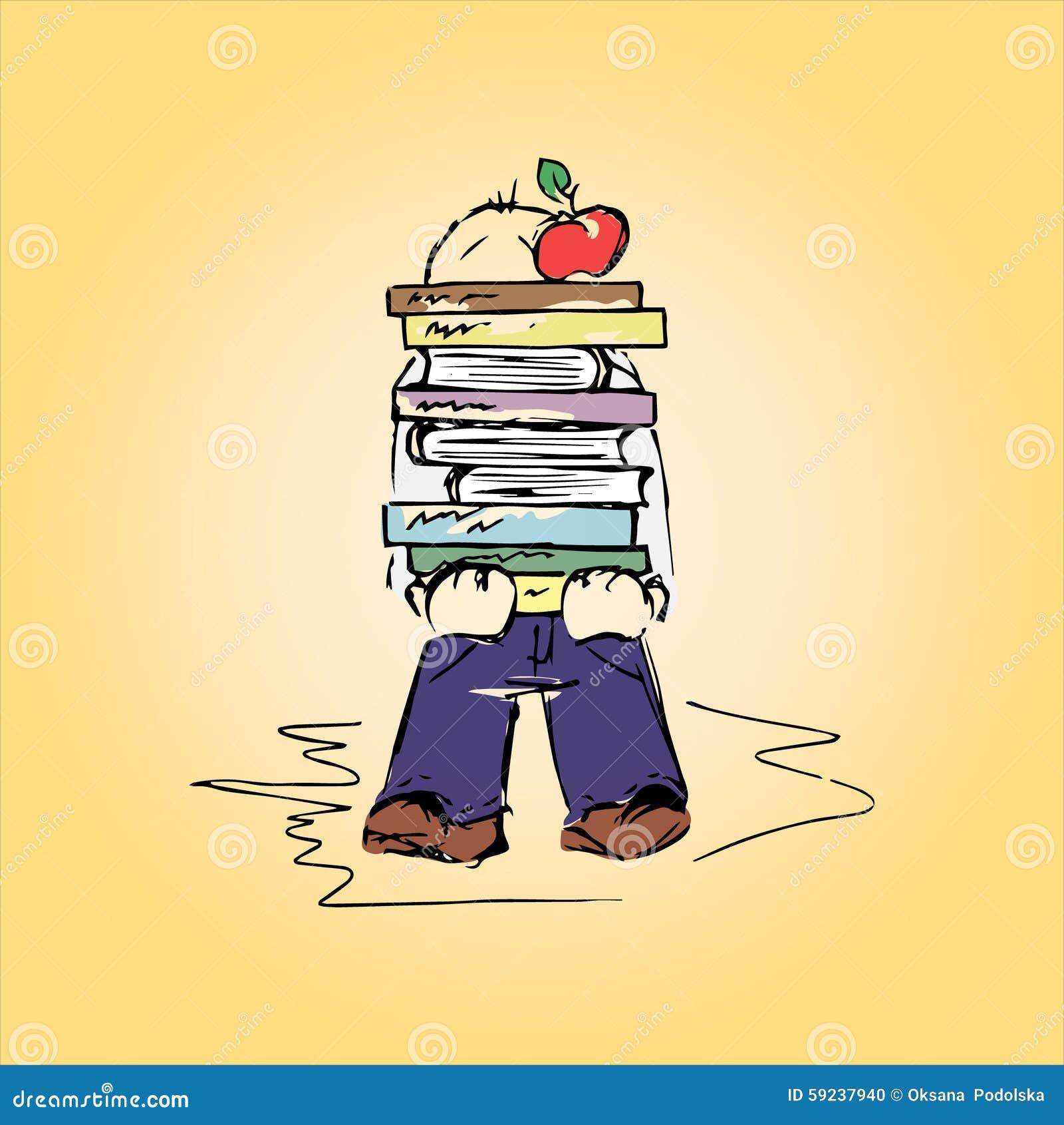 Download Ejemplo De Un Estudiante Con Los Libros, Mano-dibujo Ilustración del Vector - Ilustración de hombre, persona: 59237940