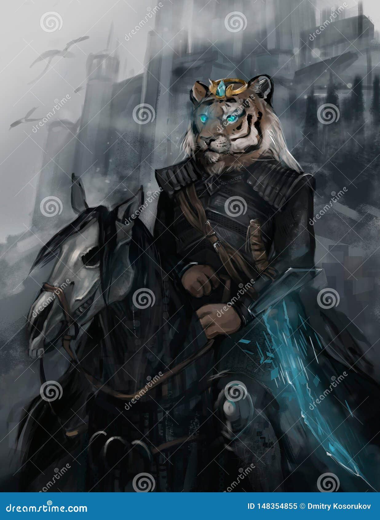 Ejemplo de un jinete en un caballo negro