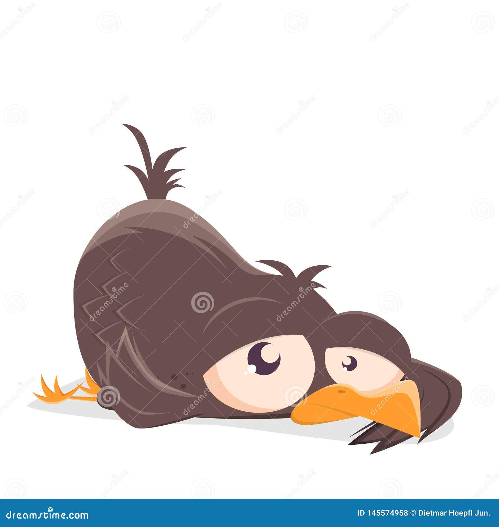 Ejemplo de un pájaro de la historieta en la tierra
