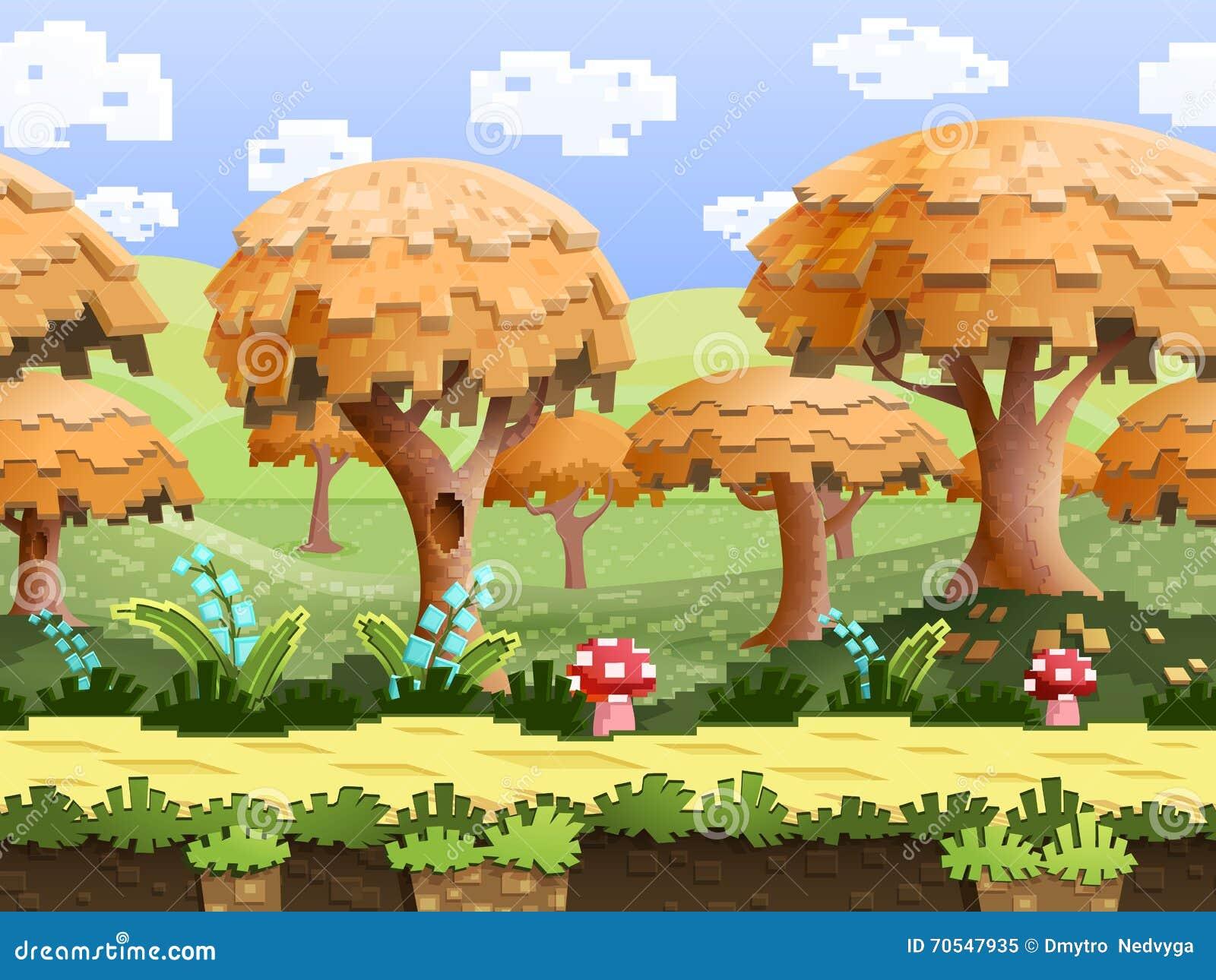 Ejemplo de un paisaje de la naturaleza, con los árboles del pixel y las colinas verdes, fondo interminable del vector con capas s