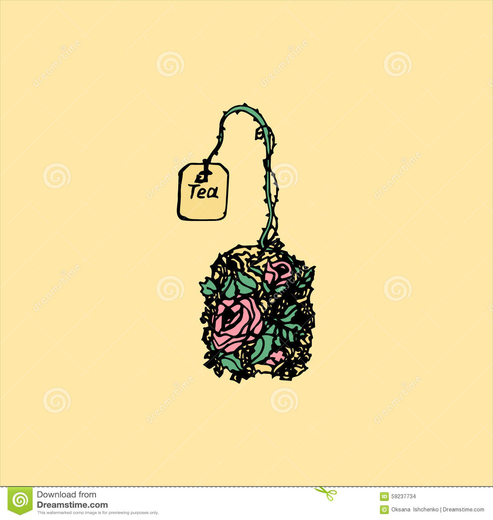 Ejemplo de una bolsita de té con las hierbas, flores