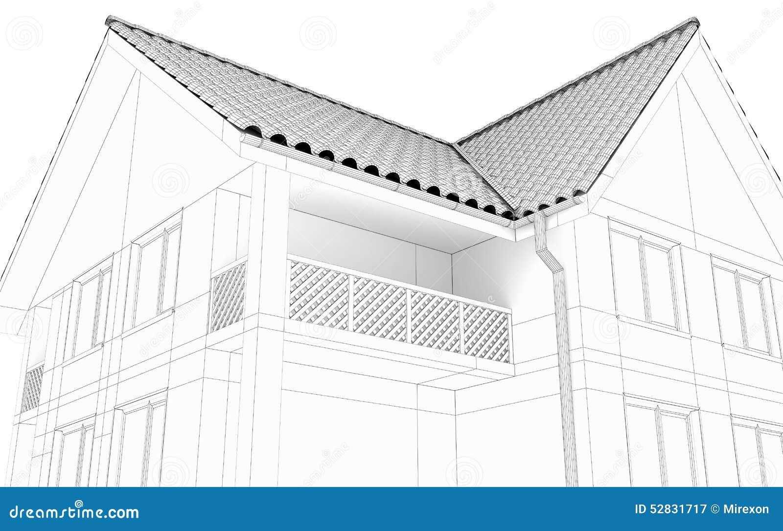Ejemplo De Una Casa Dibujo Lineal Negro Stock De Ilustración