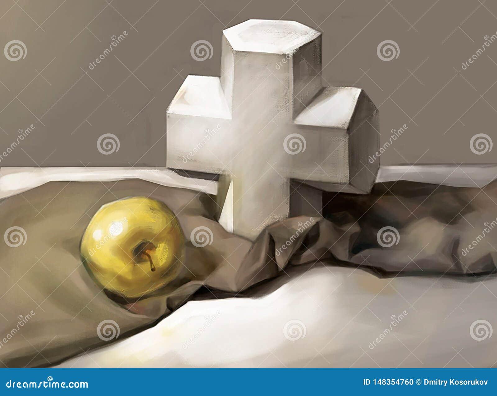Ejemplo de una cruz y de Apple