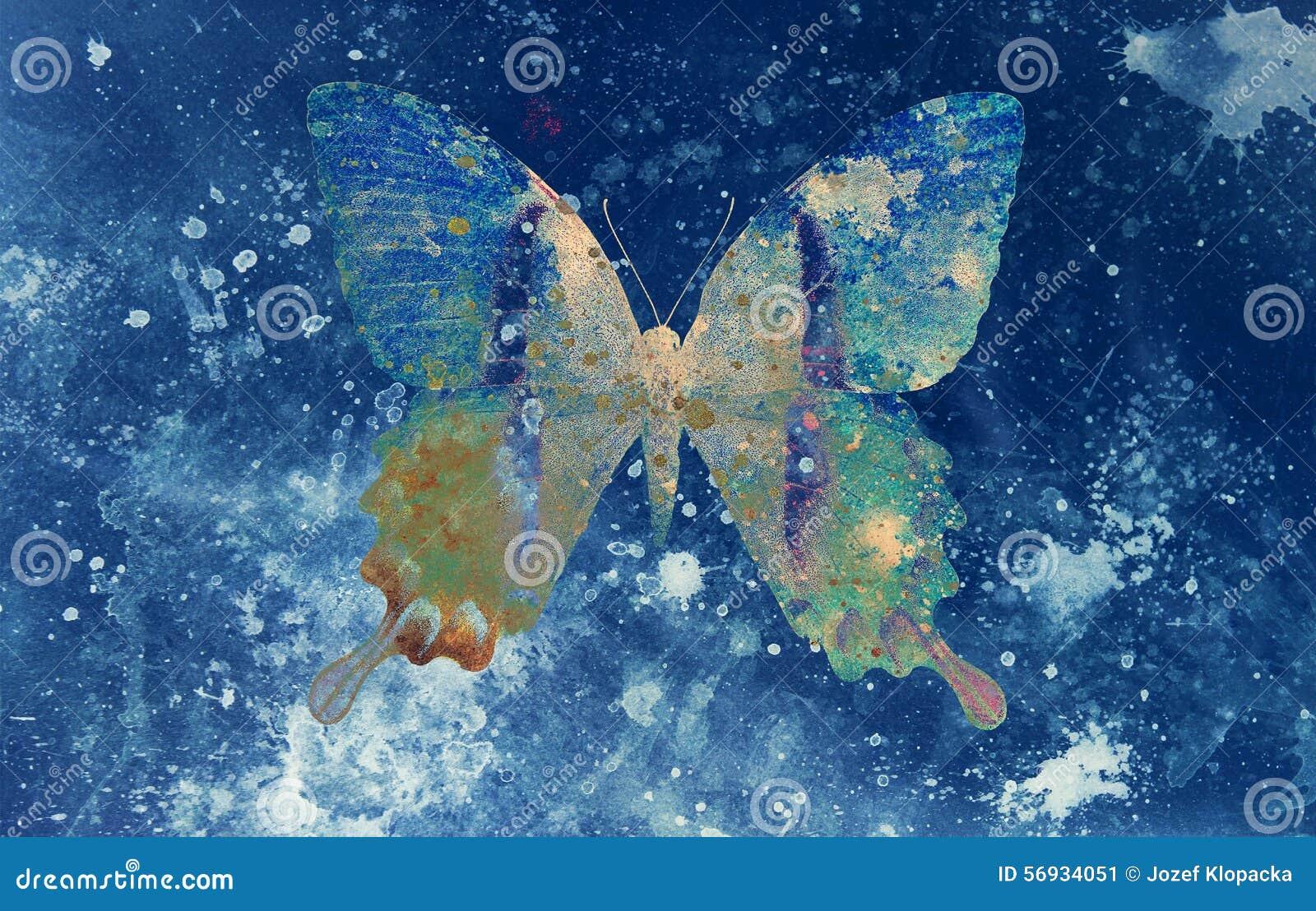 Ejemplo de una mariposa del color, medio mezclado, backgrou azul