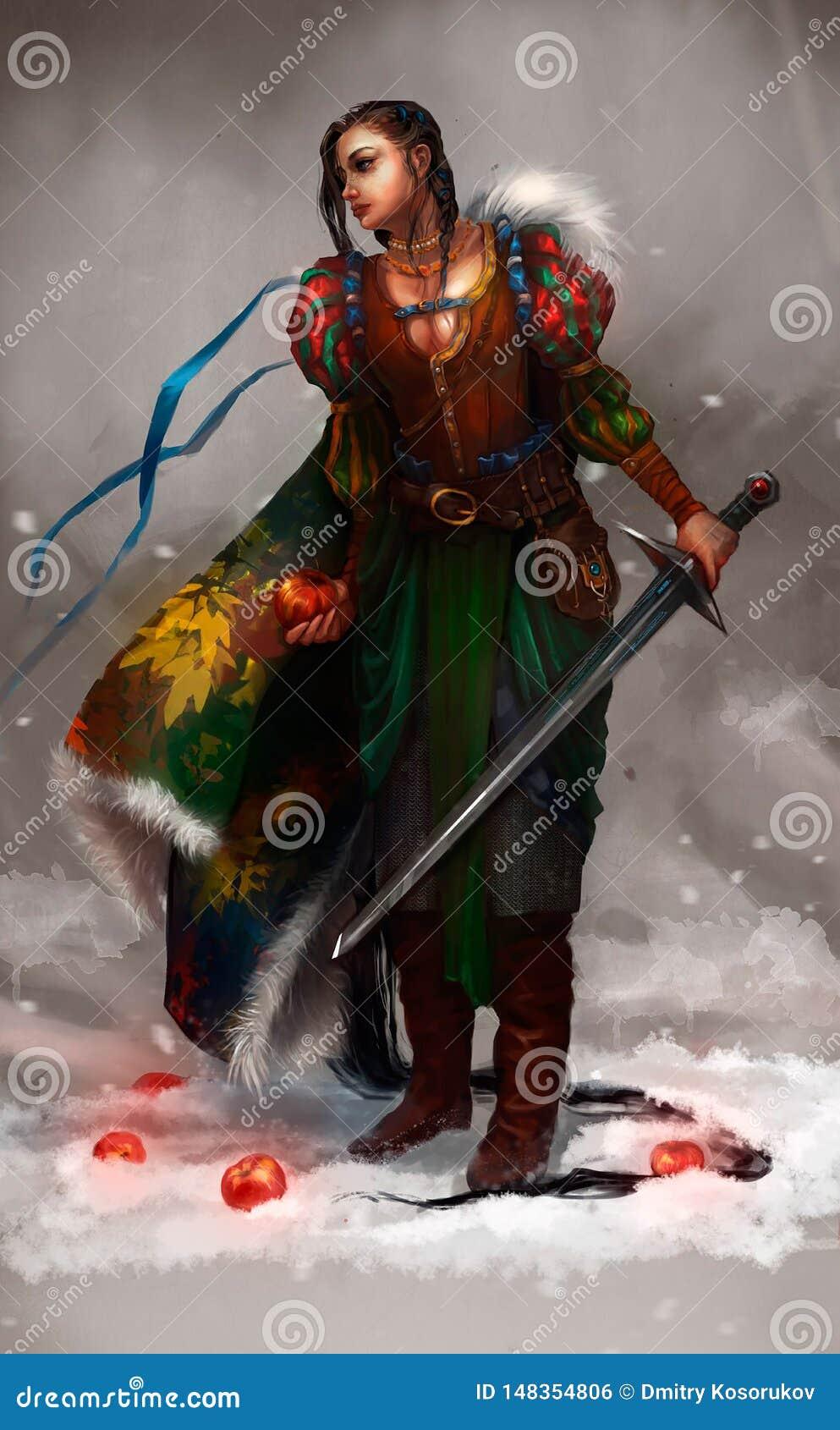Ejemplo de una muchacha con una espada