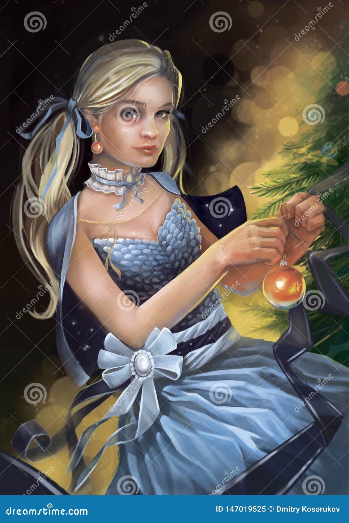 Ejemplo de una muchacha en un vestido que adorna un árbol de navidad