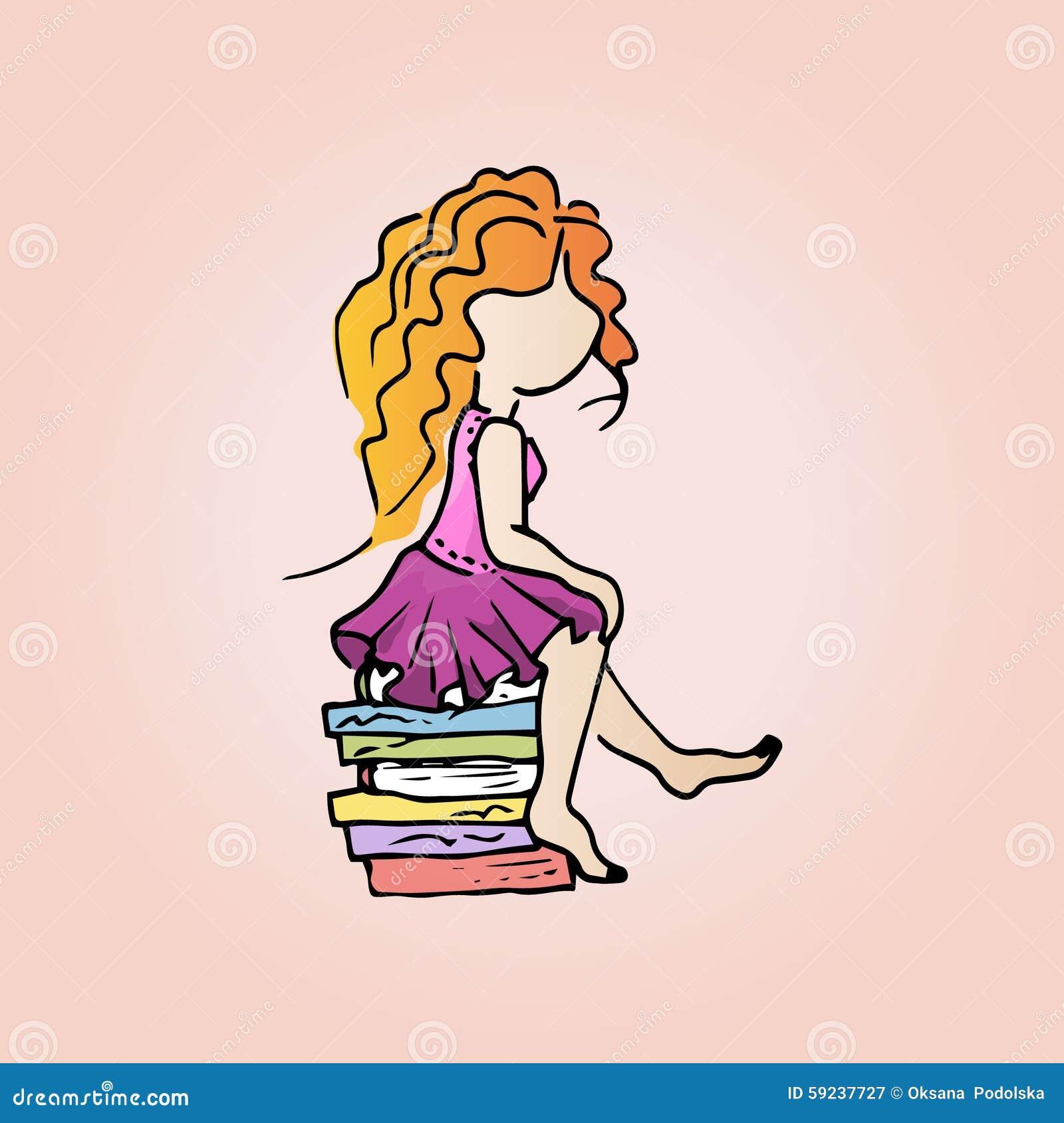 Ejemplo de una muchacha linda del pelirrojo con los libros Muchacha del estudiante el vacaciones