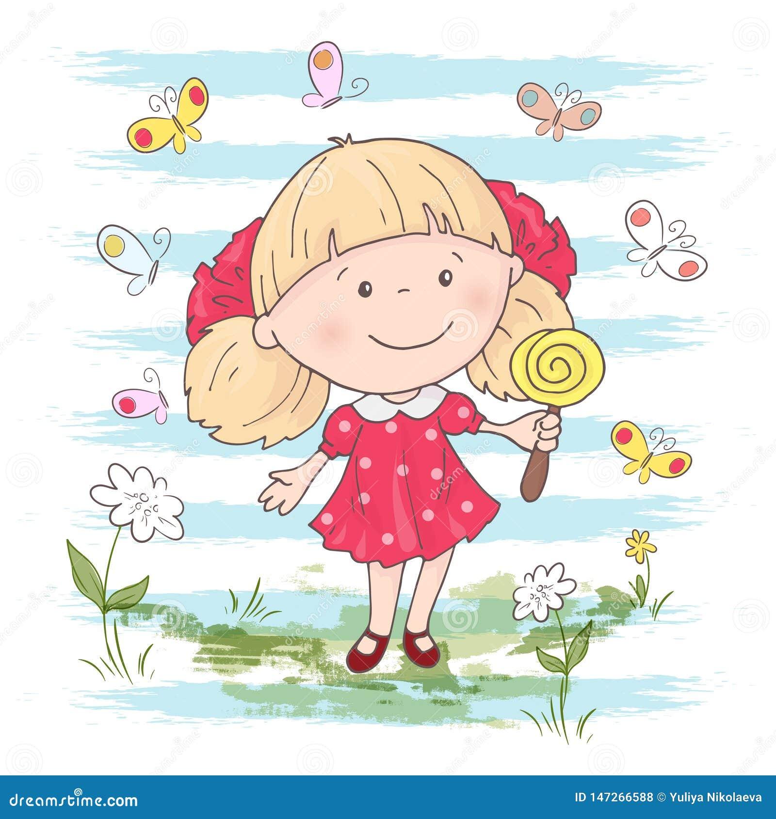 Ejemplo de una muchacha linda de la historieta con un juguete en un fondo azul Vector