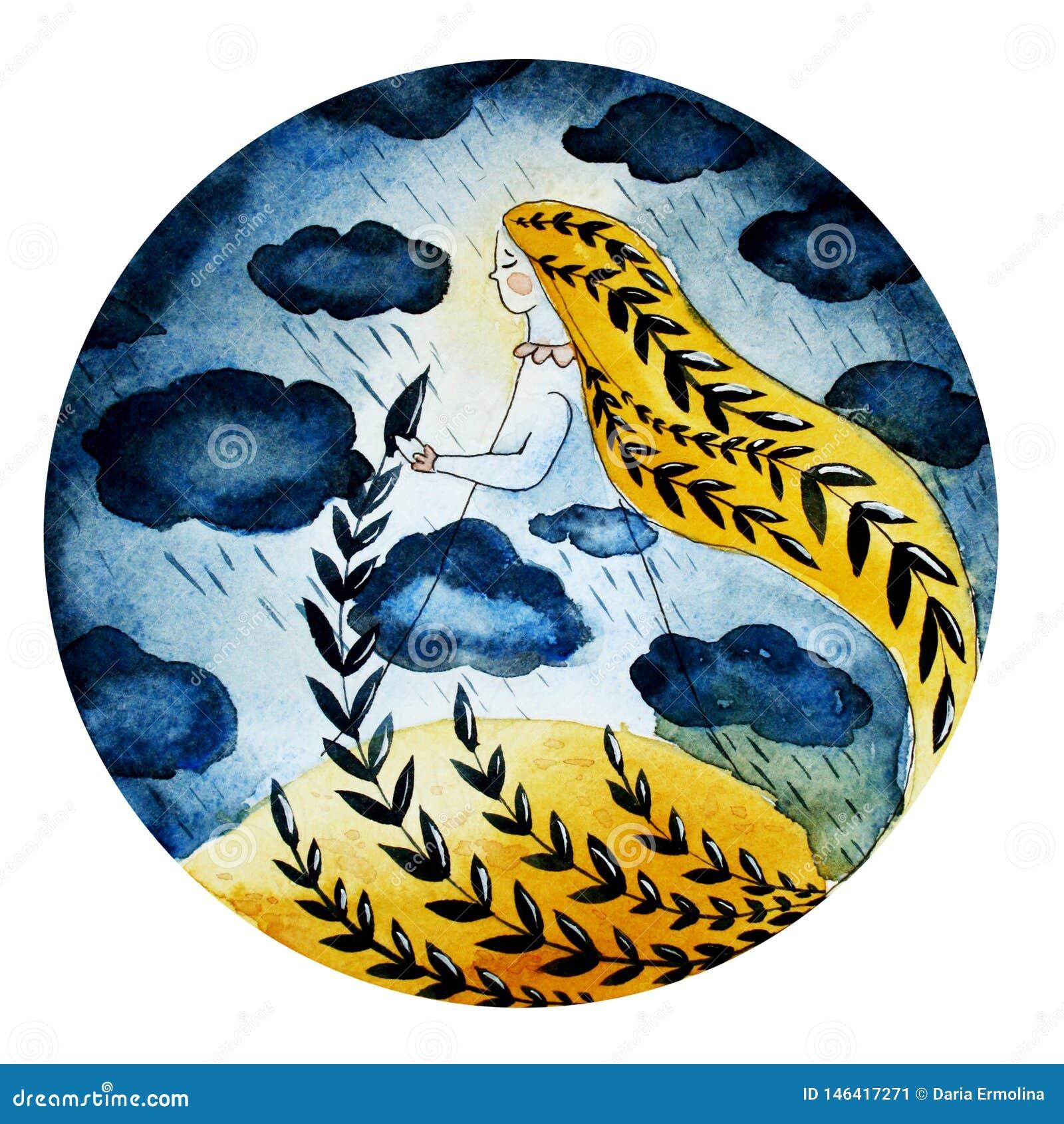 Ejemplo de una muchacha de nubes y de la lluvia