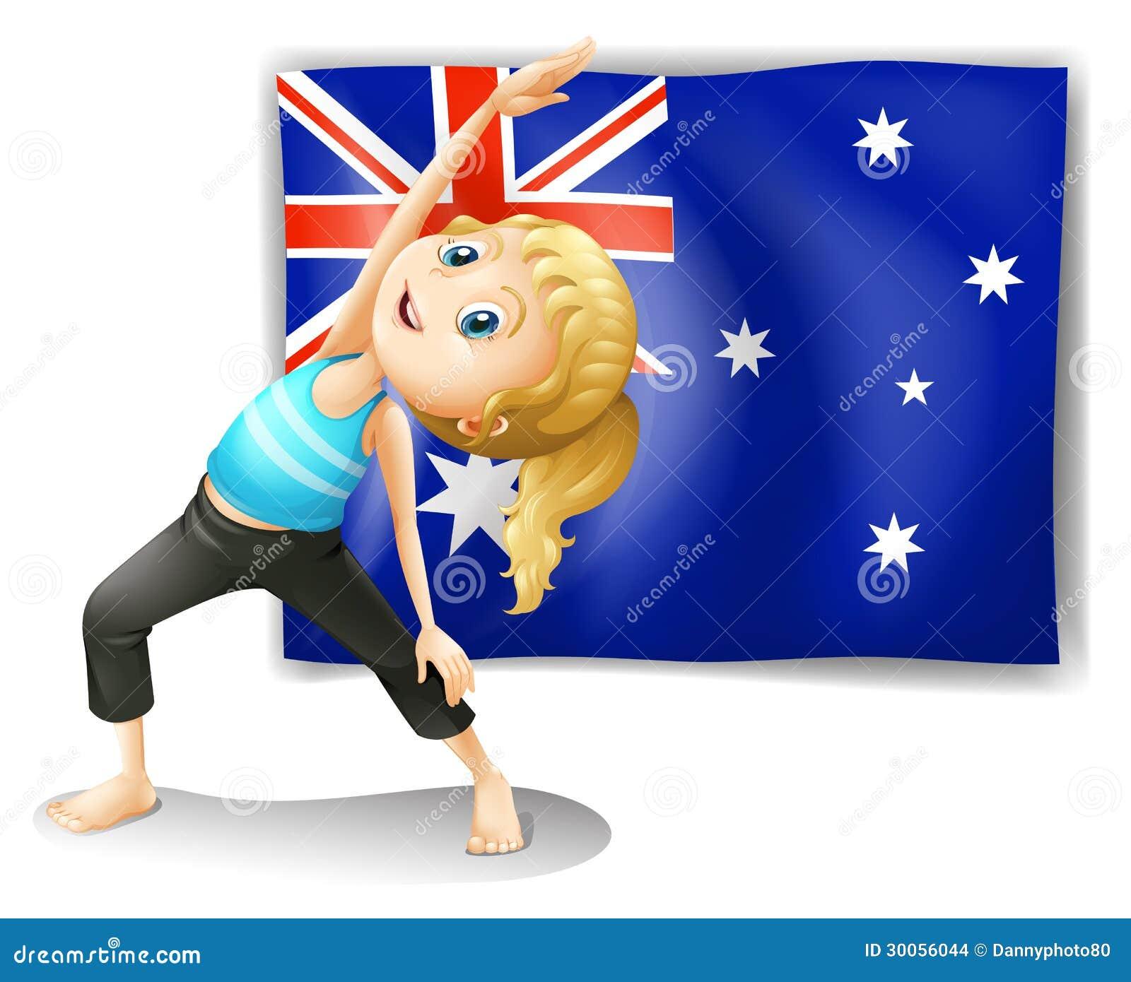 Una muchacha que estira delante de una bandera australiana