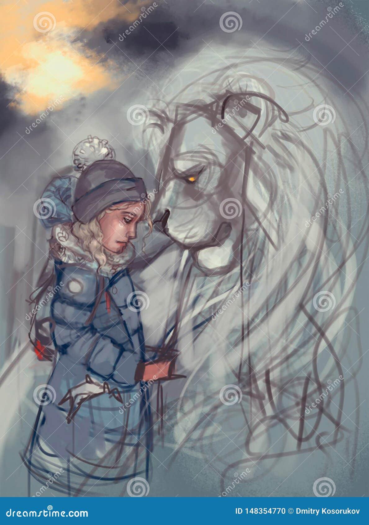 Ejemplo de una muchacha y de un león