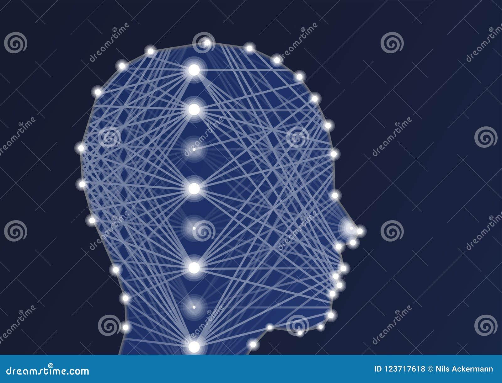 Ejemplo del AI de la inteligencia artificial con la red neuronal y la silueta profundas de la persona