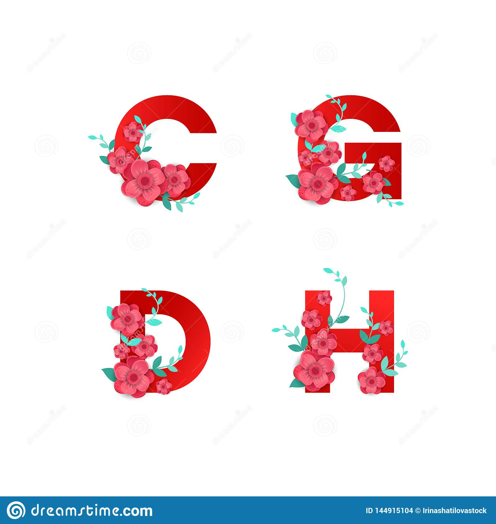 Ejemplo del alfabeto de I hecho por las hojas de las flores
