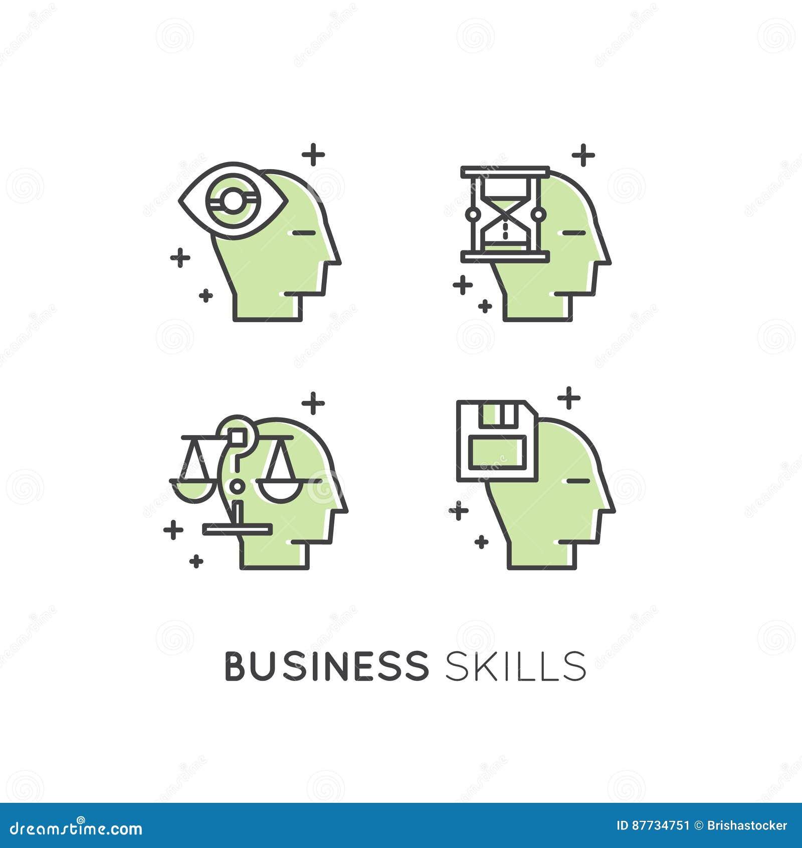 Ejemplo del Analytics, gestión, habilidad de pensamiento del negocio, toma de decisión, gestión de tiempo, memoria, Sitemap, insp