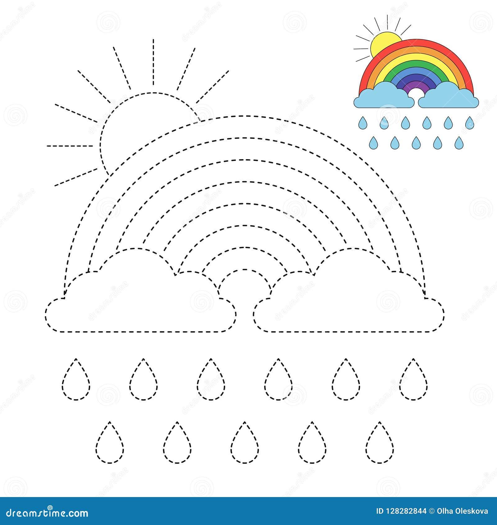 Ejemplo Del Arco Iris De Nubes De Gotas De Agua Y Del Sol Para Los