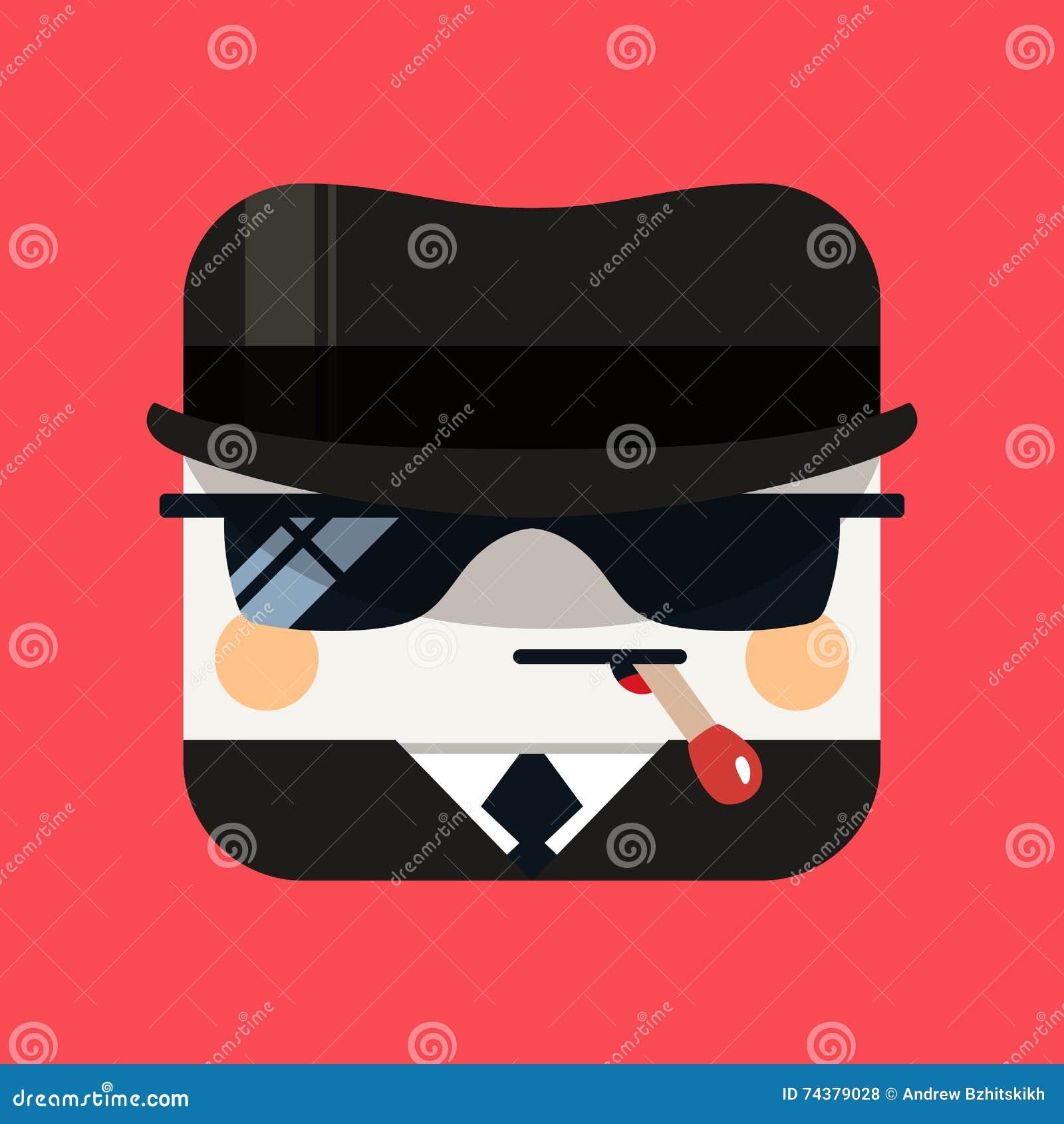 Ejemplo del avatar del espía El emisario de moda ajustó el icono con las sombras en estilo plano
