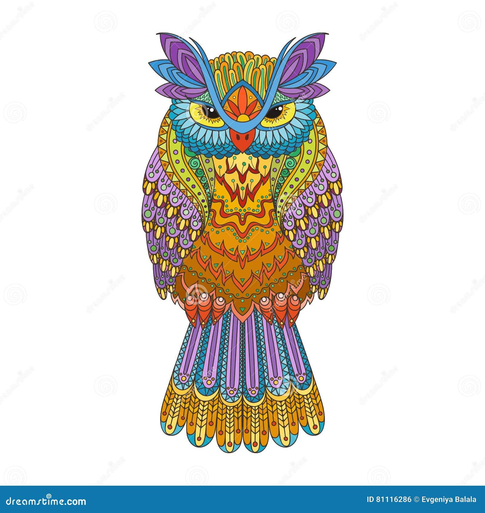 Ejemplo Del Búho Del Zentangle Del Vector Pájaro Modelado