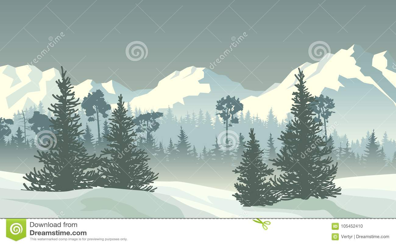 Ejemplo del bosque conífero del invierno con las montañas