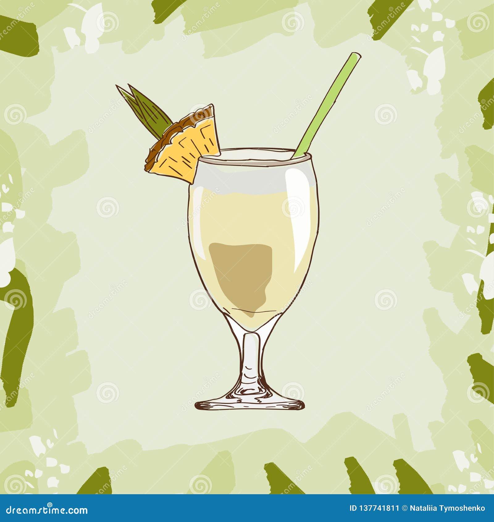 Ejemplo del cóctel de Pina Colada Vector exhausto de la barra de la mano alcohólica de la bebida Arte pop