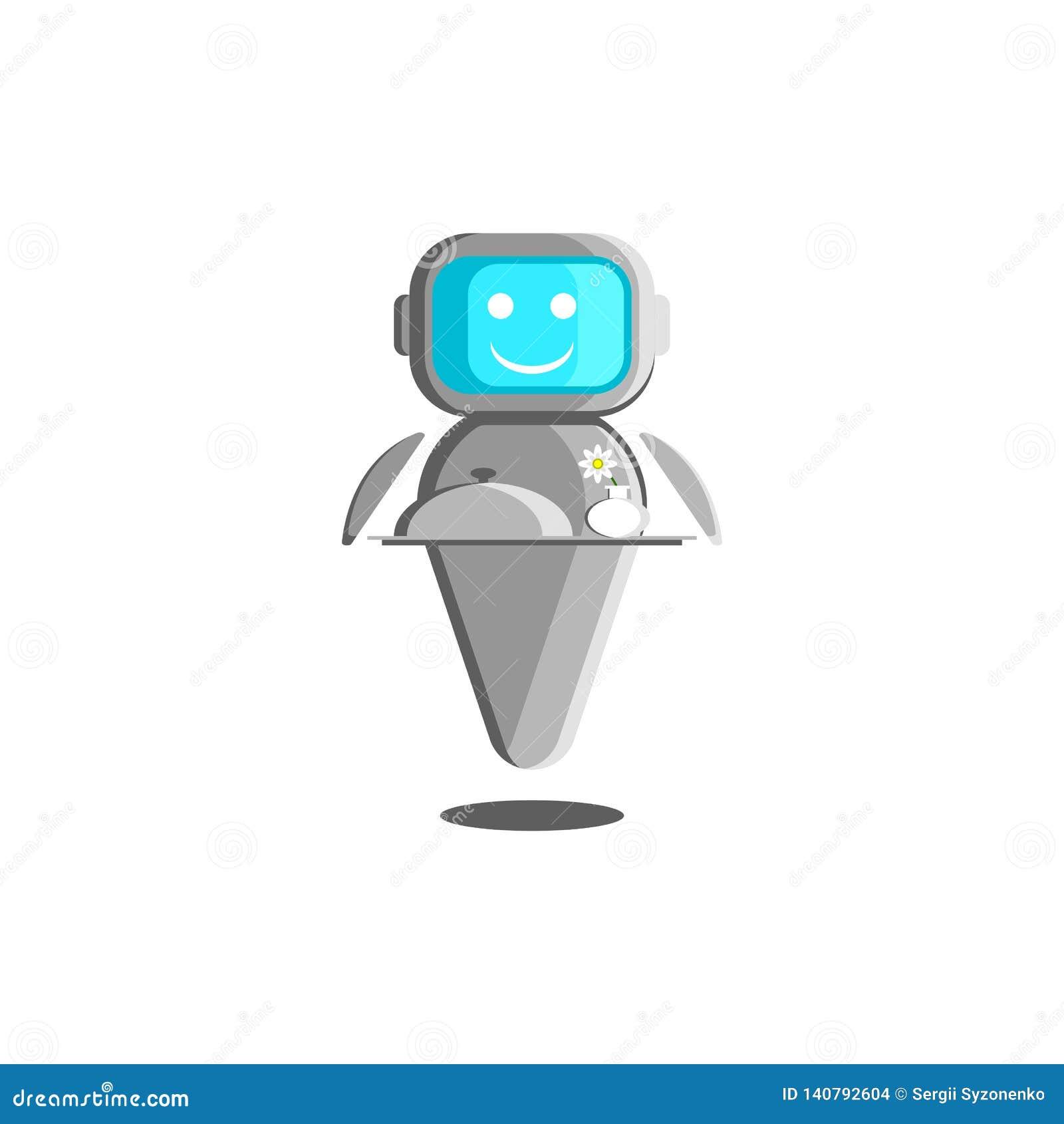 Ejemplo del camarero del robot, concepto de ayudante robótico con inteligencia artificial Un bot sonriente con la comida y un flo