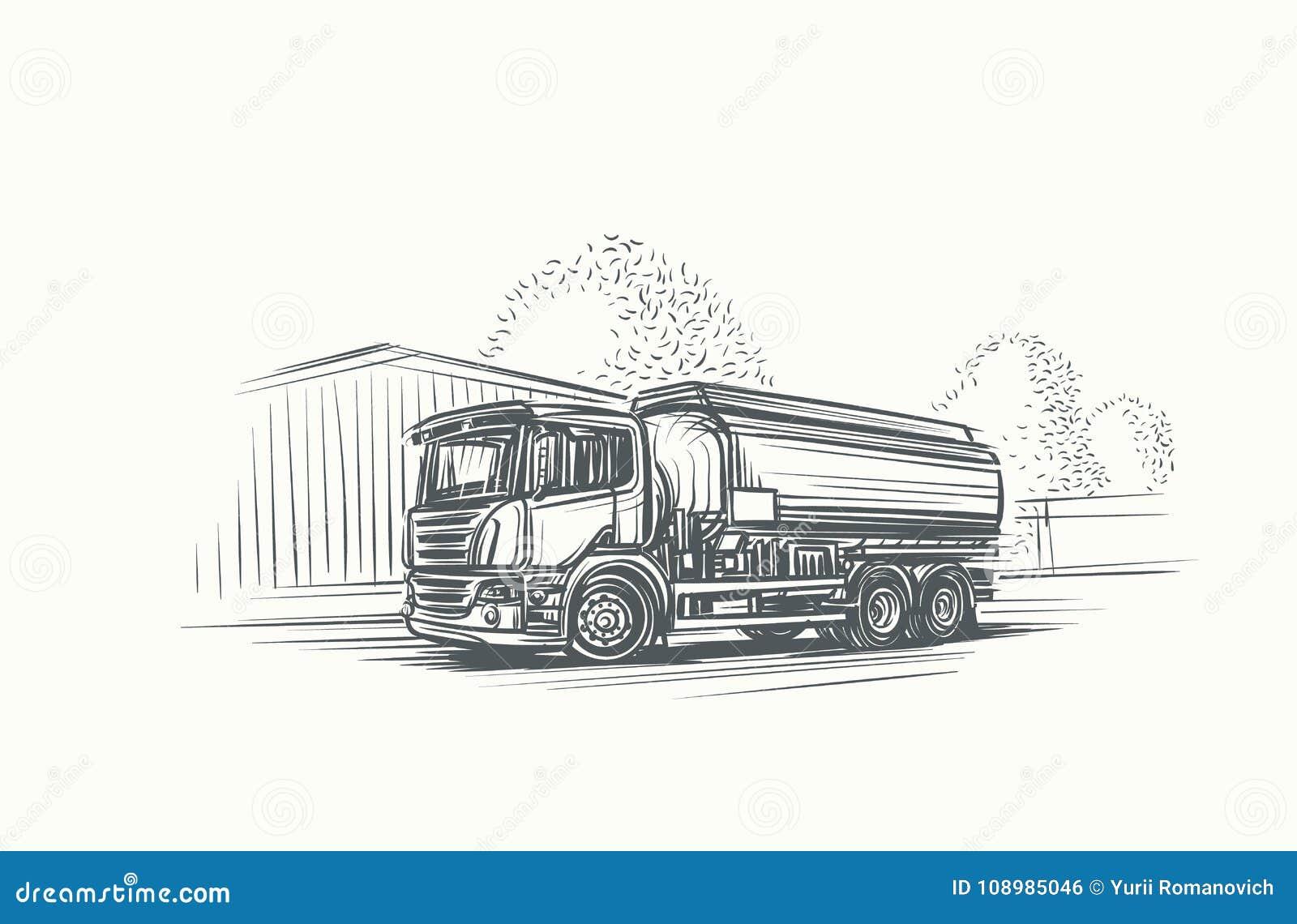 Ejemplo del camión de la cisterna Mano dibujada, vector, EPS 10