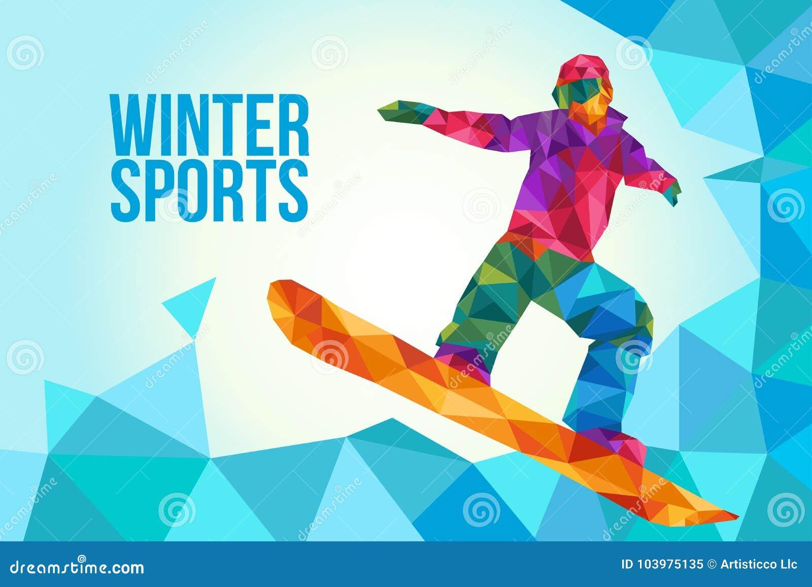 Ejemplo del cartel de la snowboard en estilo bajo del polígono