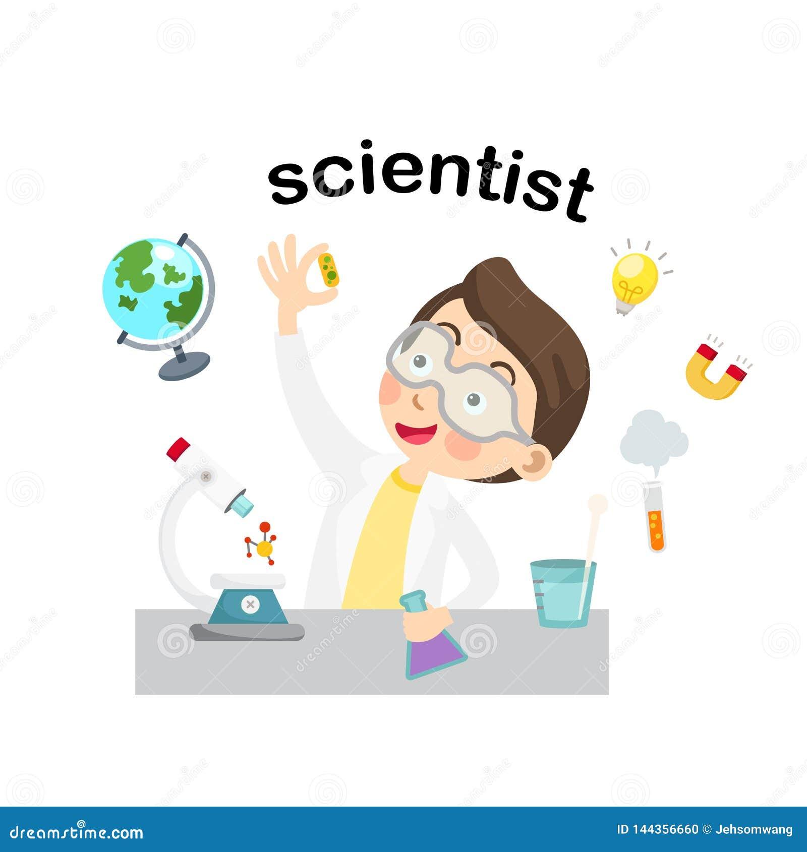 Ejemplo del científico de la profesión