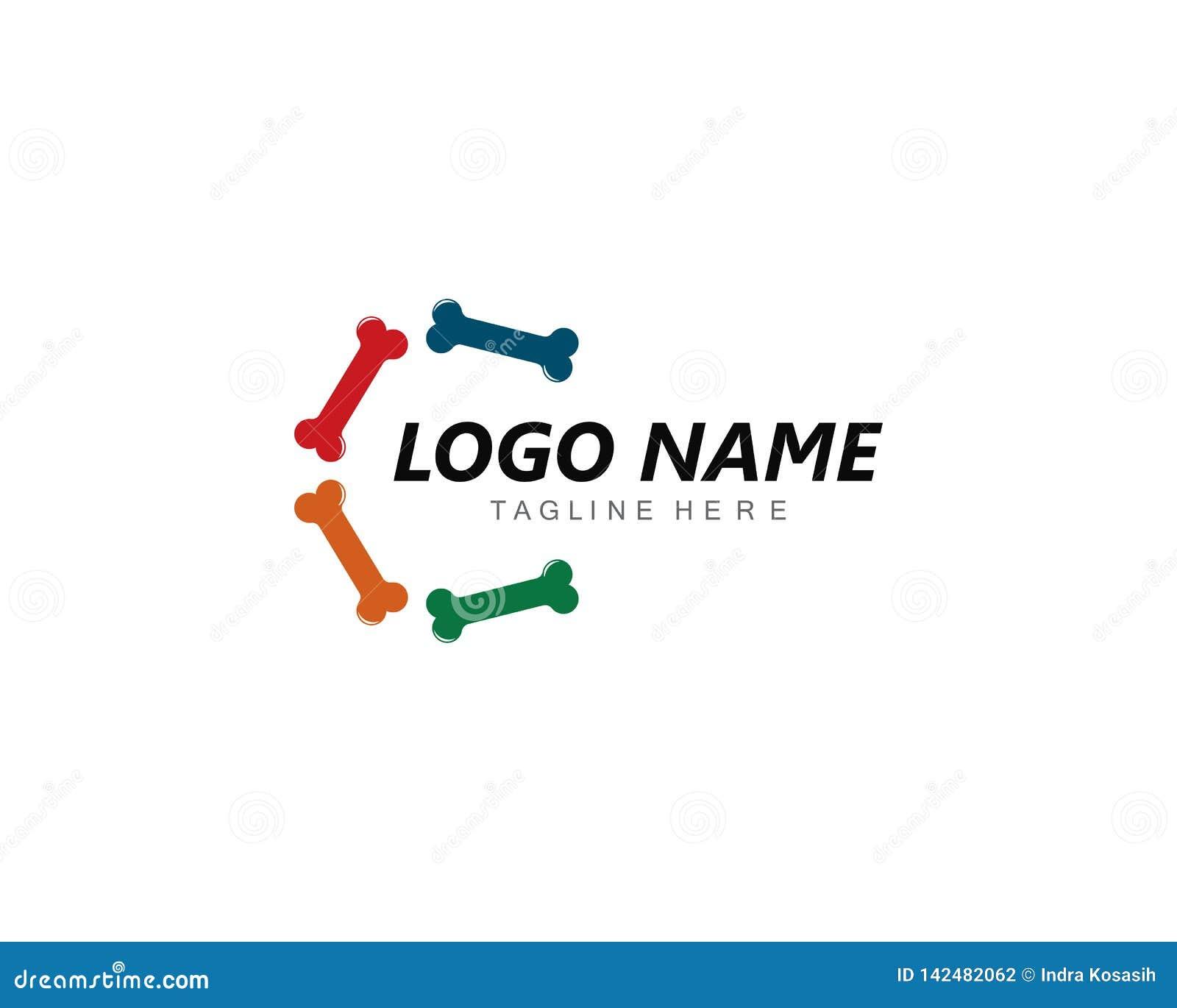 Ejemplo del concepto del logotipo del hueso