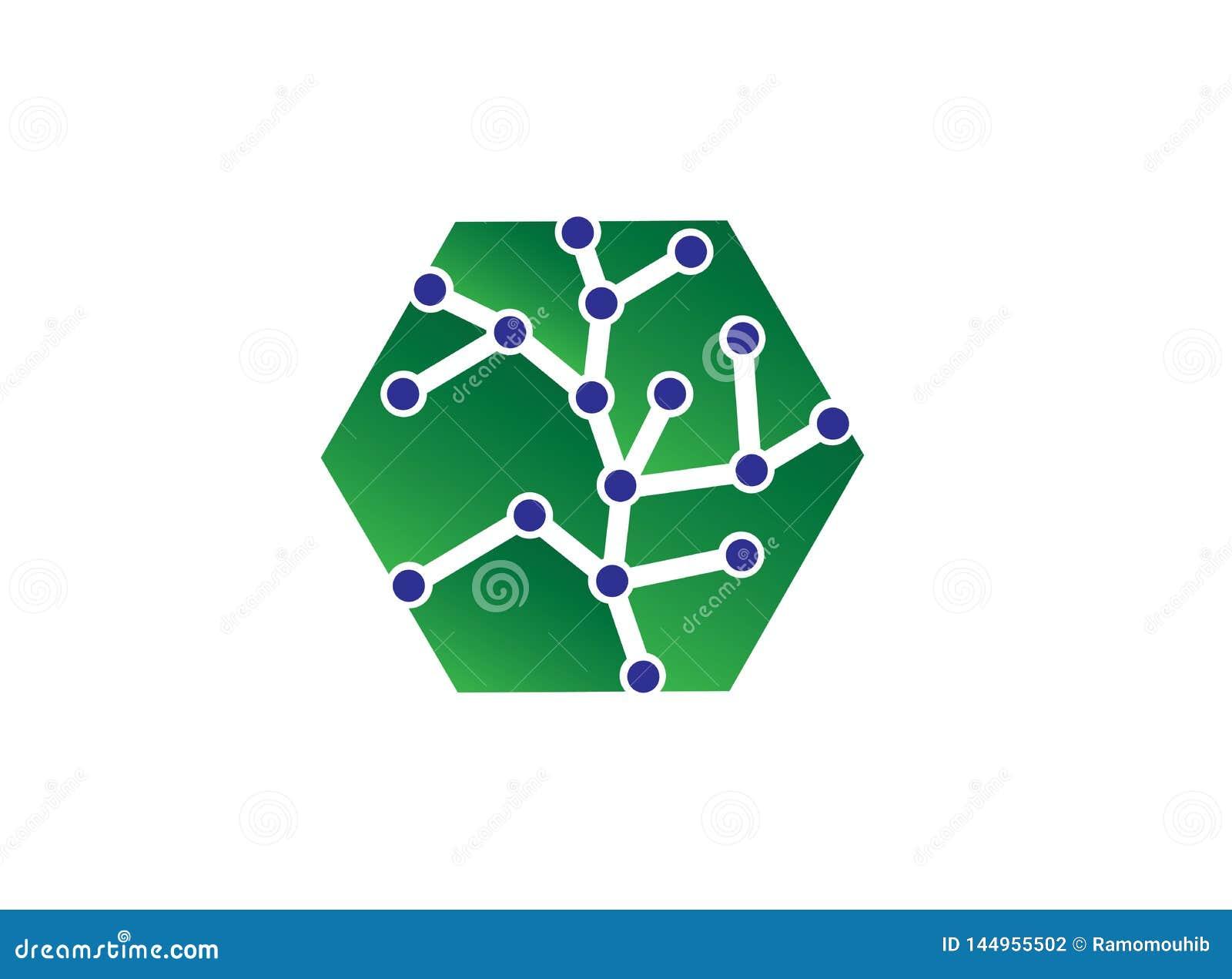 Ejemplo del concepto del logotipo del vector del hexágono, logotipo poligonal geométrico del hexágono con símbolo de la tecno