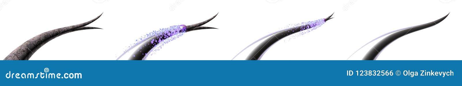 Ejemplo del cuidado del cabello 3D Tratando y previniendo extremos partidos del pelo Reparación total de la raíz a inclinar Antes