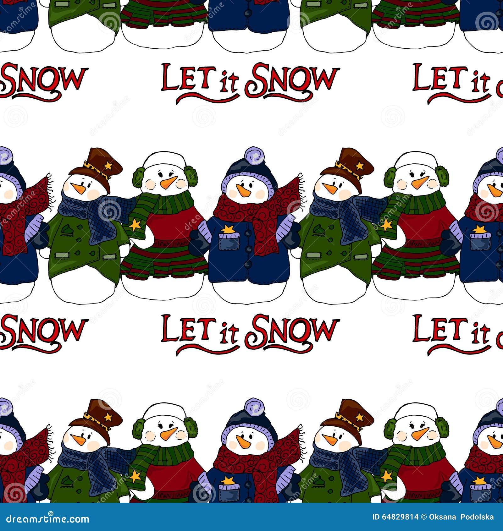Ejemplo del día de fiesta Muñecos de nieve de la Navidad Invitación del Año Nuevo Figura del invierno Modelo inconsútil