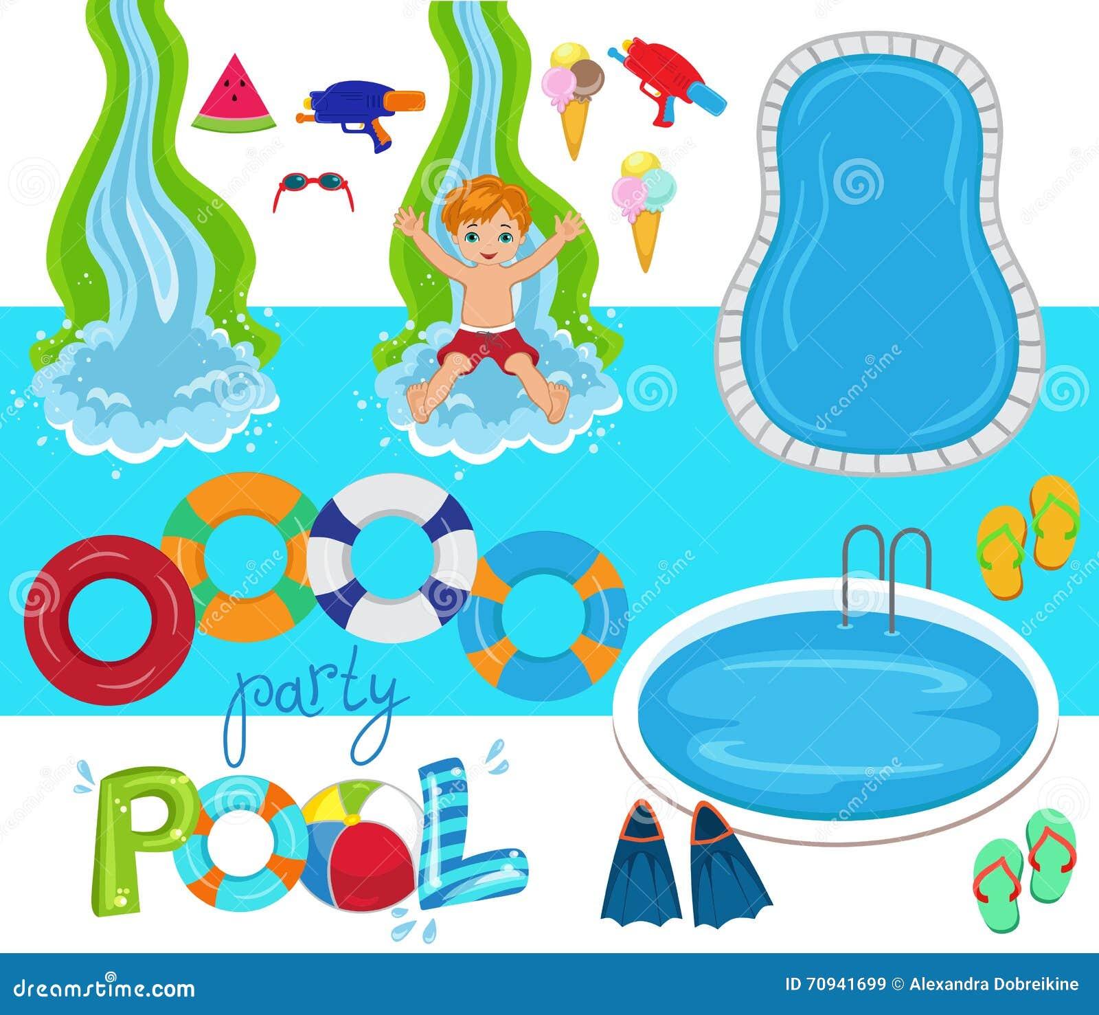 ejemplo del diseño del vector de la fiesta en la piscina stock de