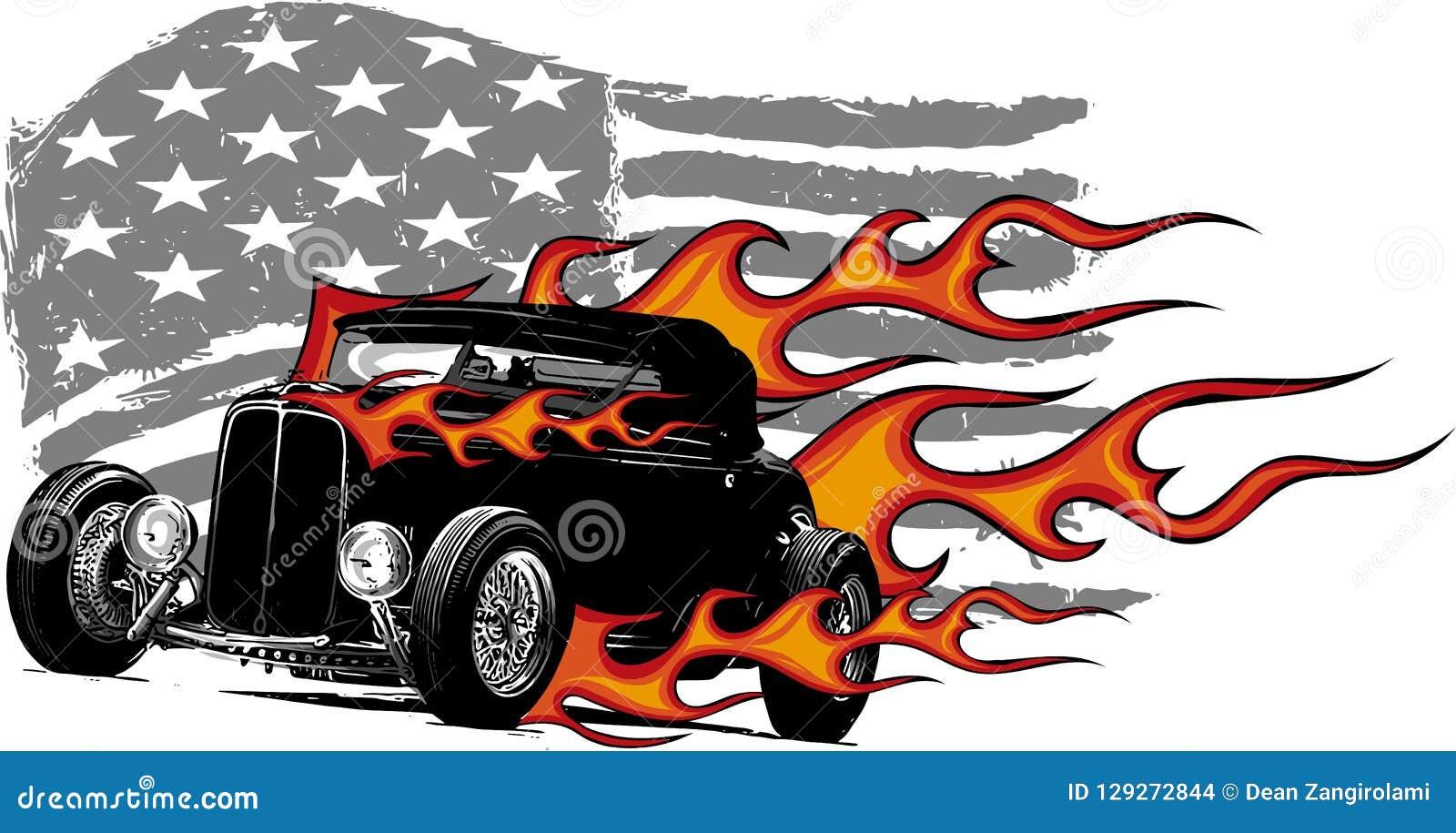 Ejemplo del diseño gráfico de vector de un coche americano del músculo